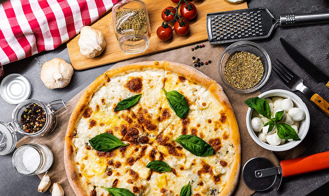 Download Pizza Quattro Formaggi FREE Stock Photo