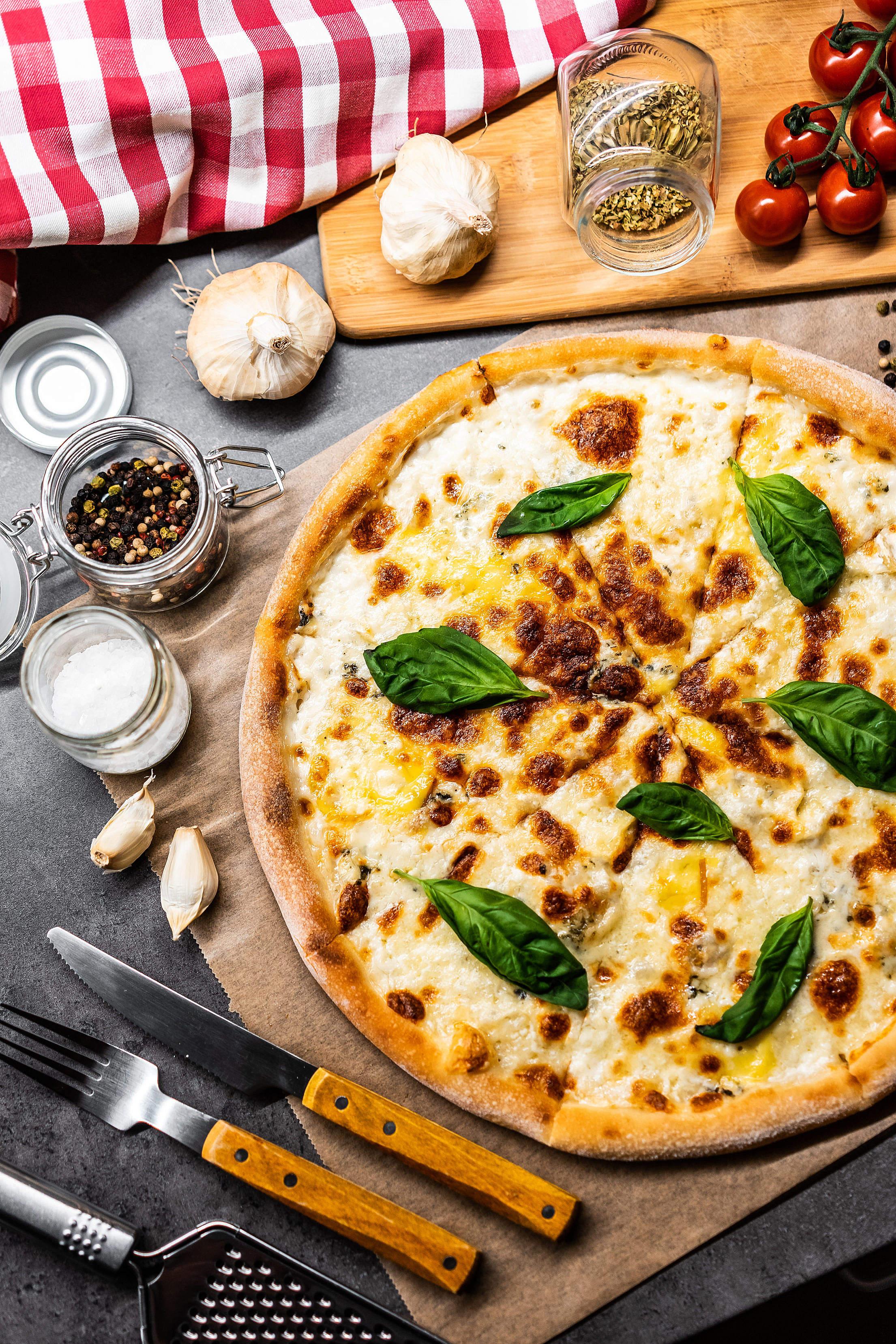 Pizza Quattro Formaggi Vertical Free Stock Photo