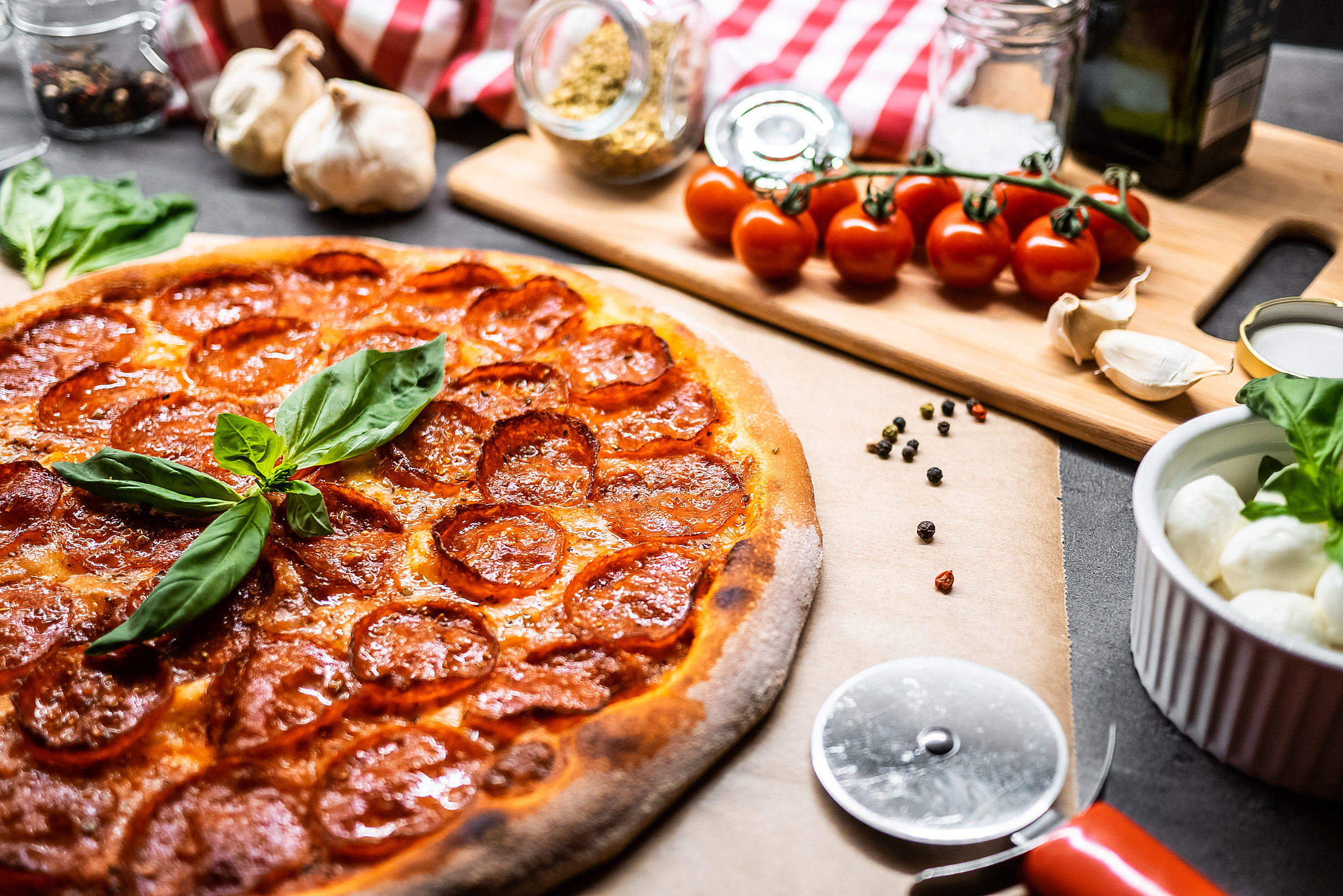 Pizza Salami Free Stock Photo