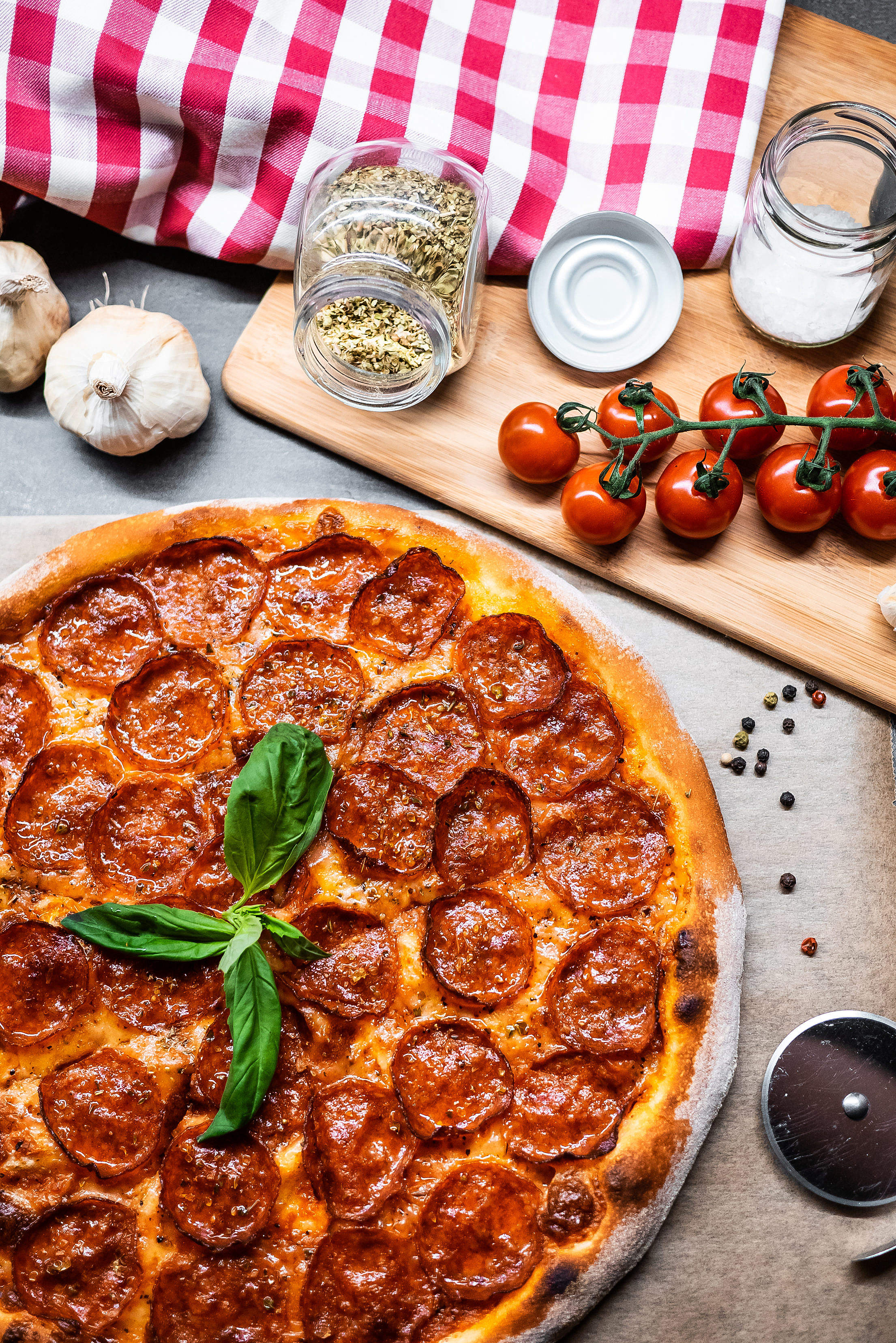 Pizza Salami Vertical Free Stock Photo