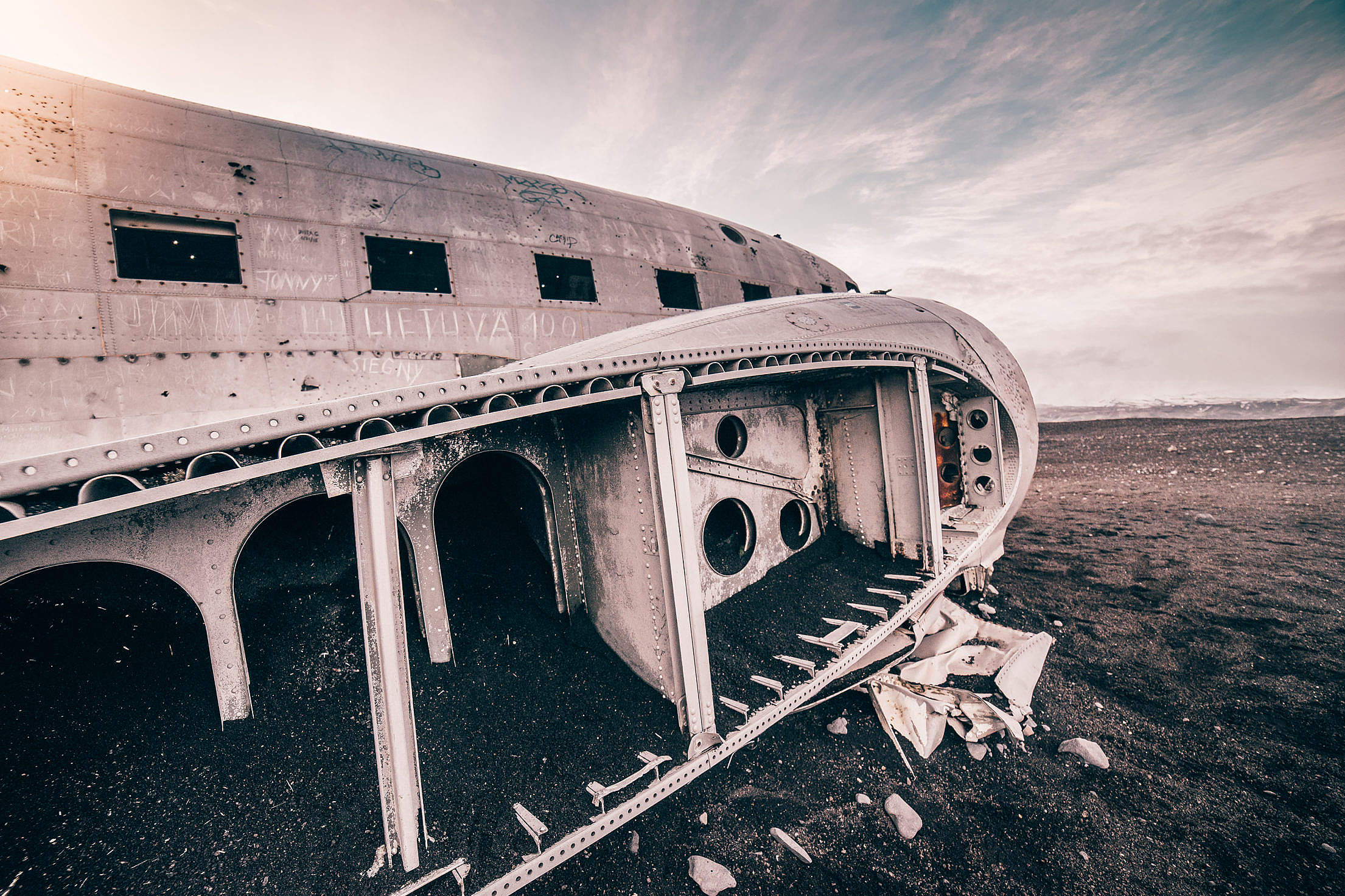 Plane Wreckage in Iceland Free Stock Photo