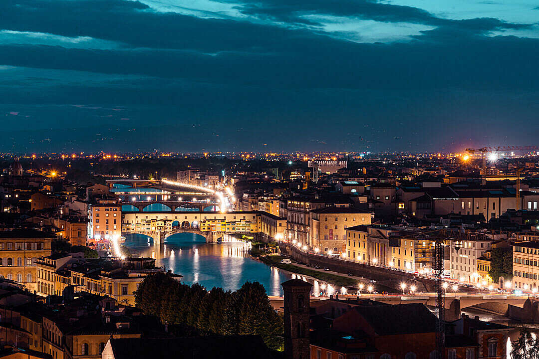 Download Ponte Vecchio on Arno River at Night, Florence, Italy FREE Stock Photo
