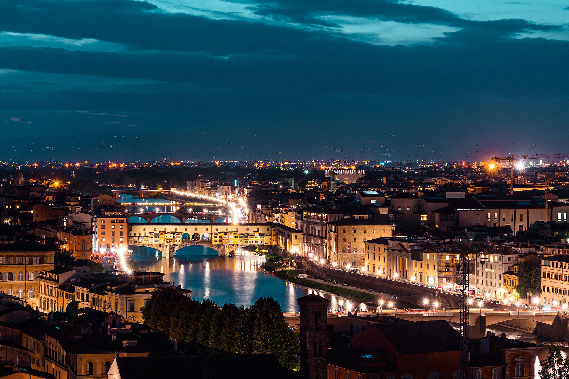Ponte Vecchio on Arno River at Night, Florence, Italy Free Stock Photo