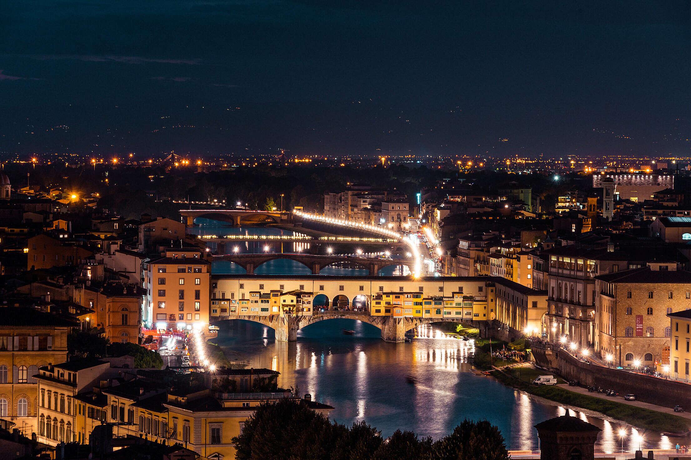 Ponte Vecchio on Arno River at Night Free Stock Photo