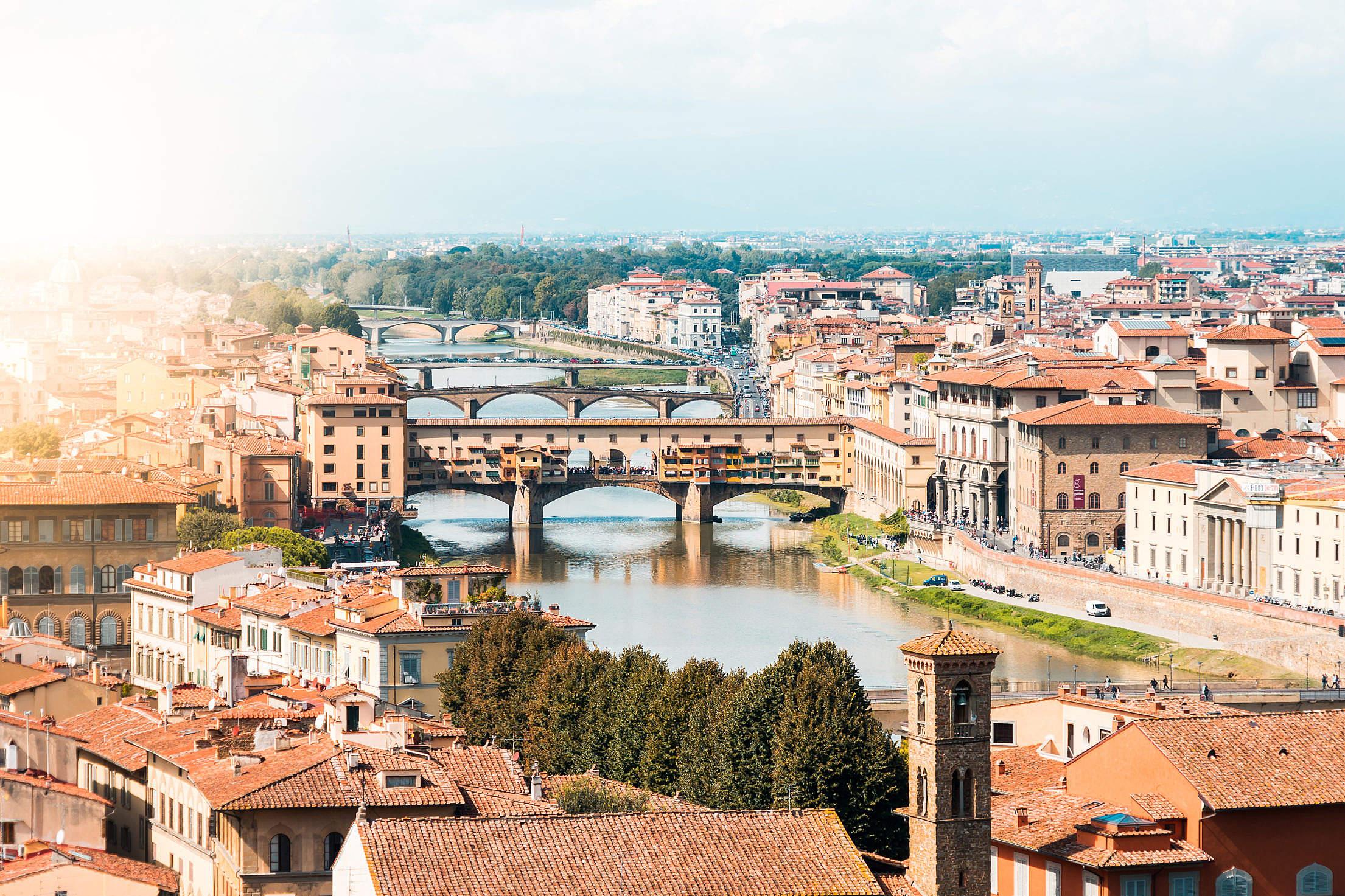 Ponte Vecchio on Arno River, Florence, Italy Free Stock Photo