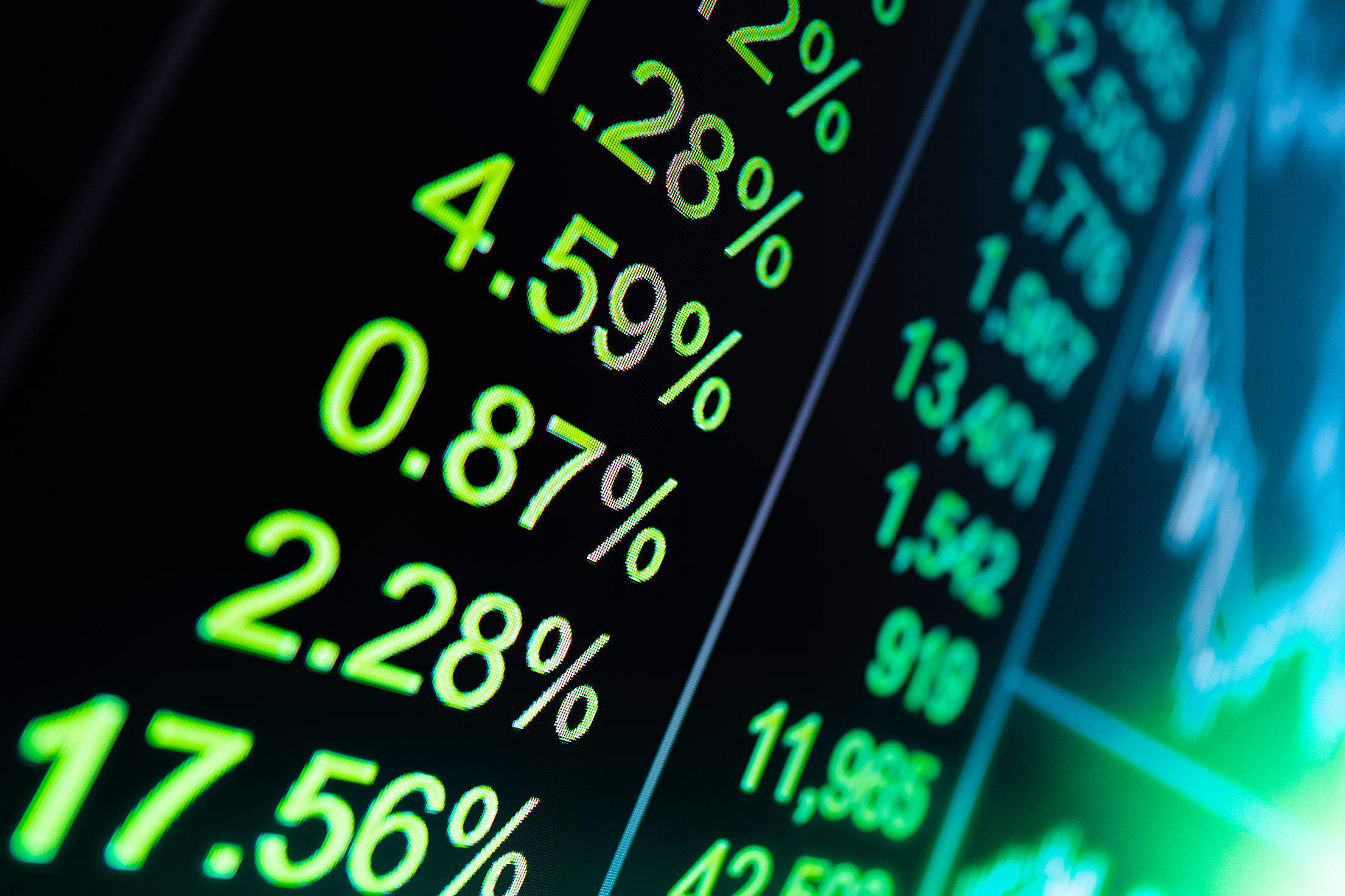 Positive Stocks Numbers Free Stock Photo