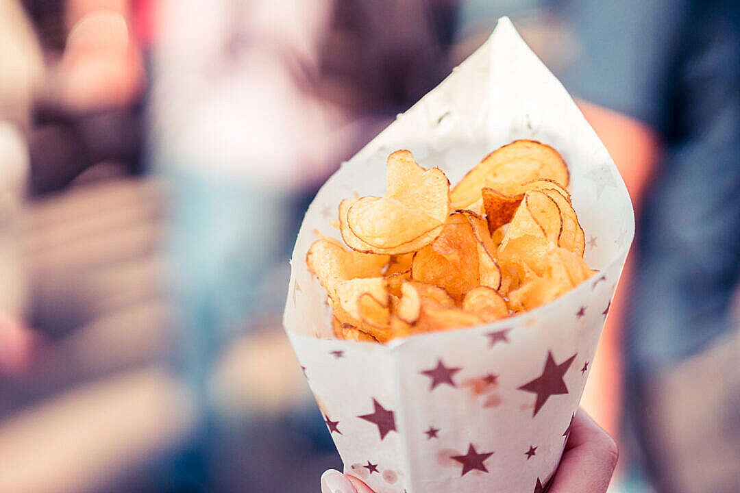 Download Potato Chips in a Cornet FREE Stock Photo