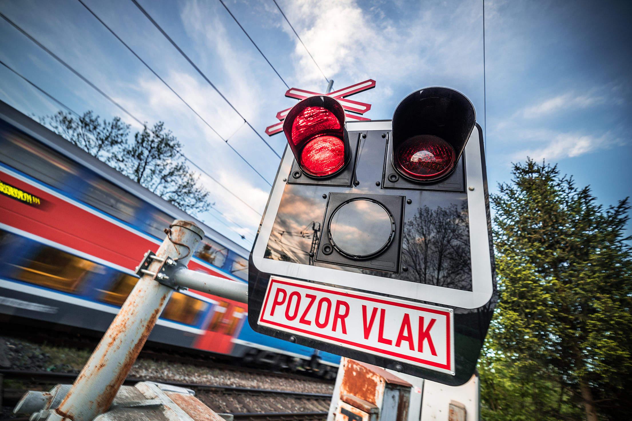 Pozor Vlak Czech Railway Crossing Sign Free Stock Photo