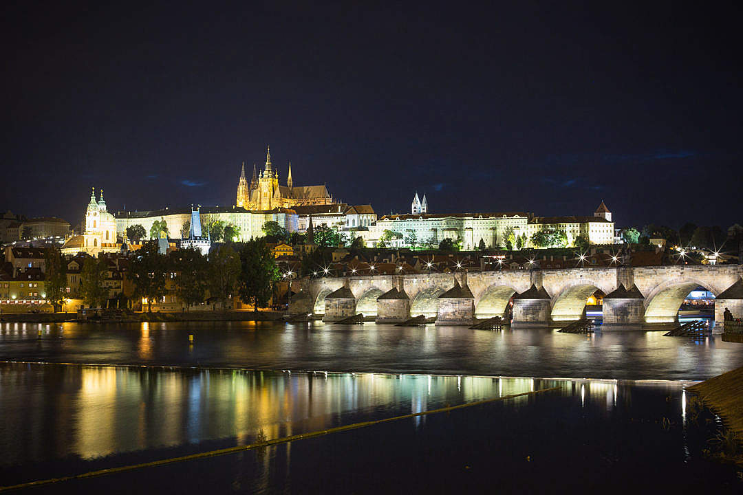 Download Prague Castle and Charles Bridge at Night FREE Stock Photo