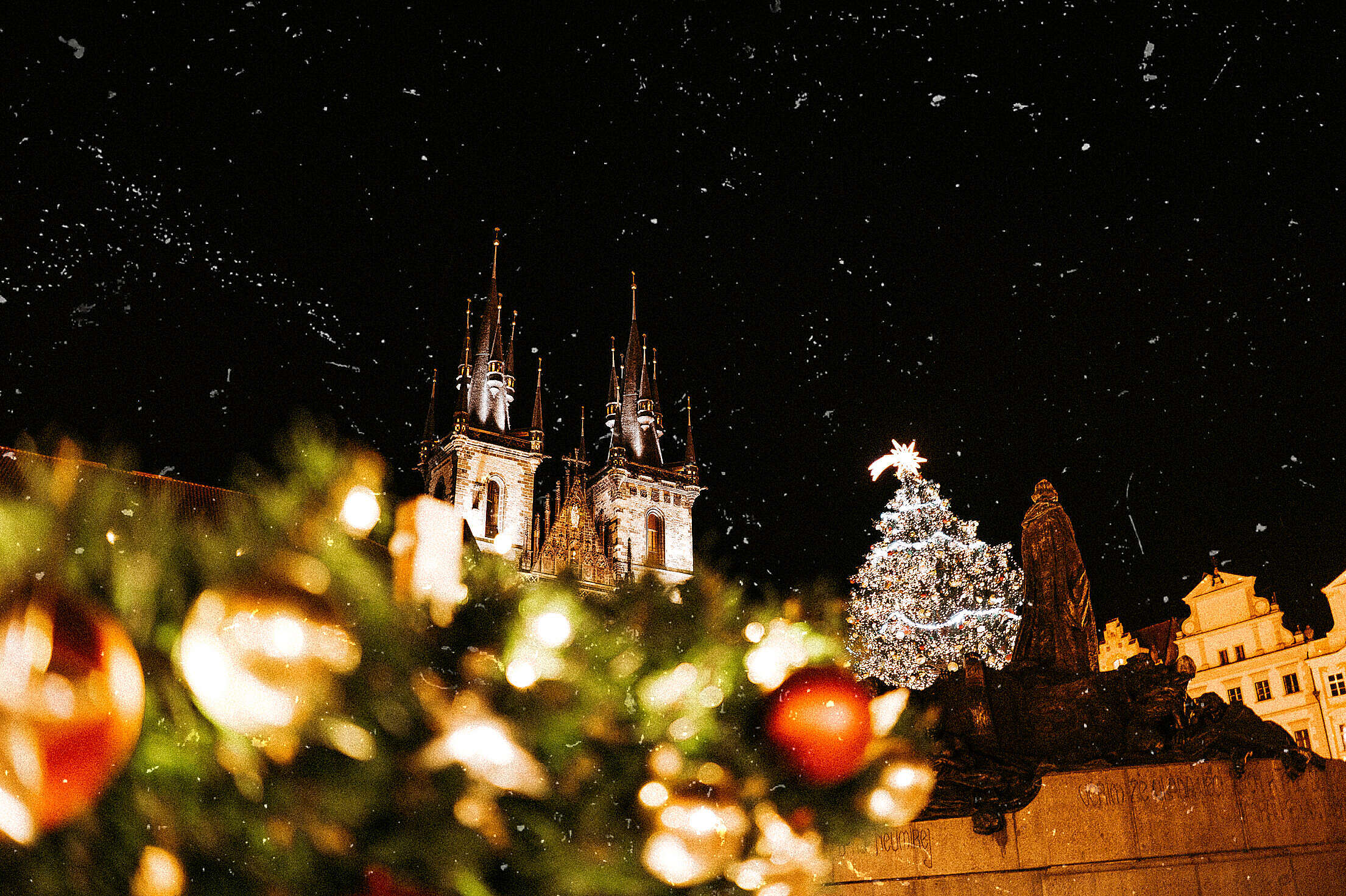 Prague Christmas Markets Vintage Free Stock Photo