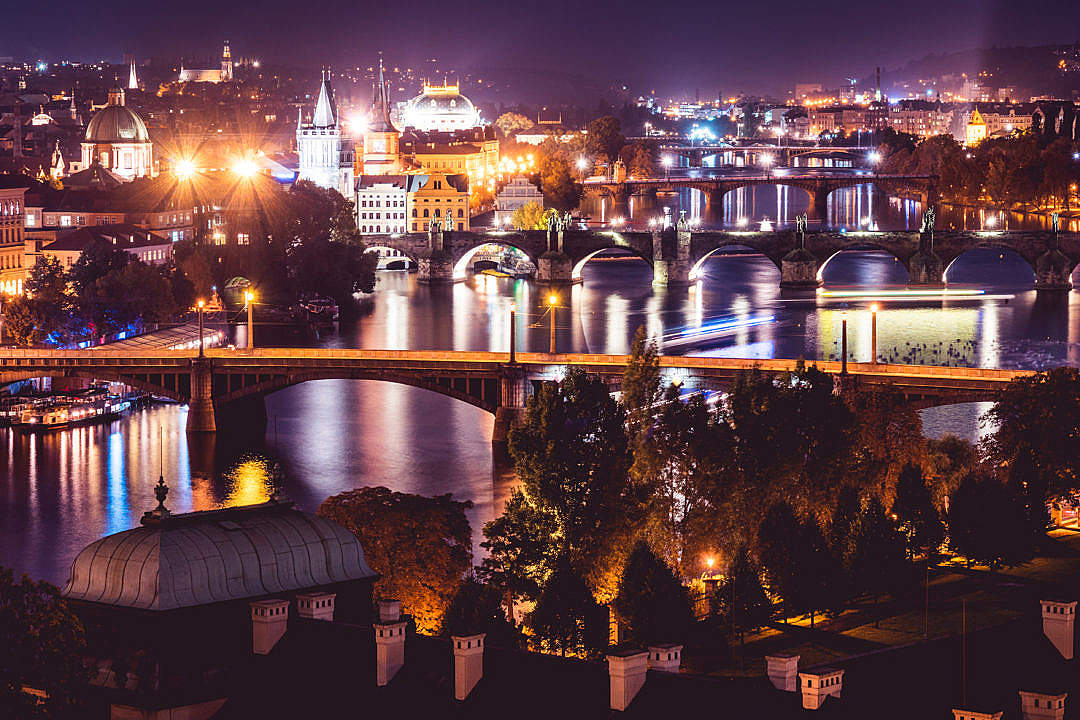 Download Prague City at Night, Czechia FREE Stock Photo