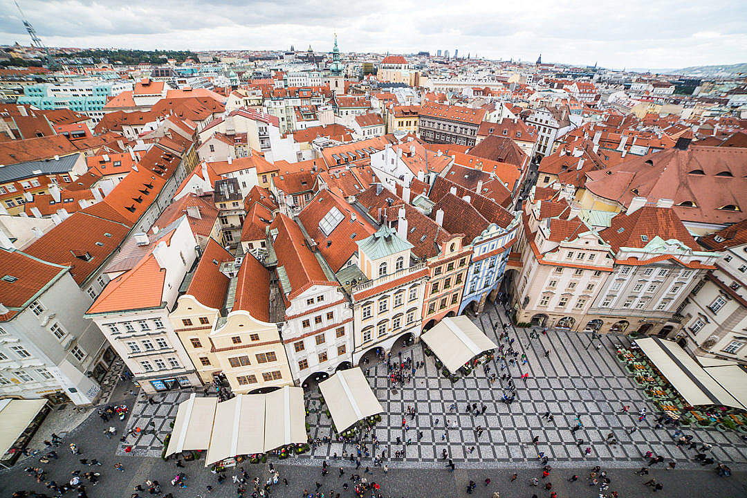 Download Prague Old Town Square Houses and Panorama FREE Stock Photo