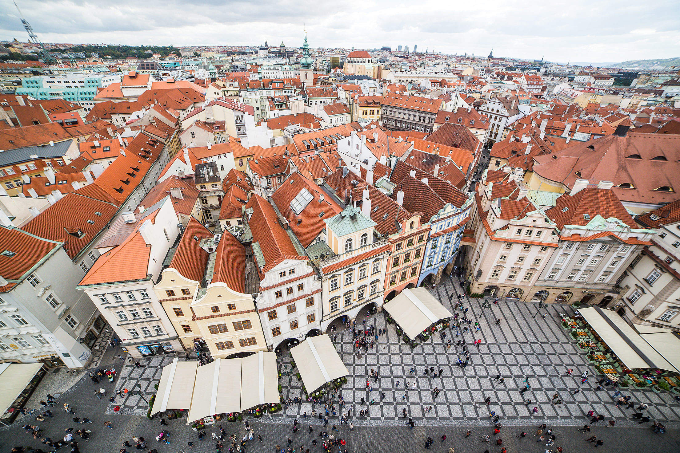 Prague Old Town Square Houses and Panorama Free Stock Photo
