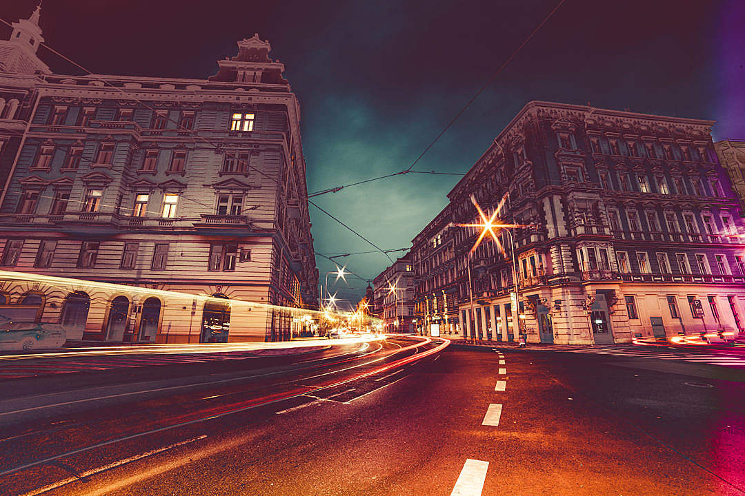 Download Prague Streets at Night Colorful Abstract Edit FREE Stock Photo