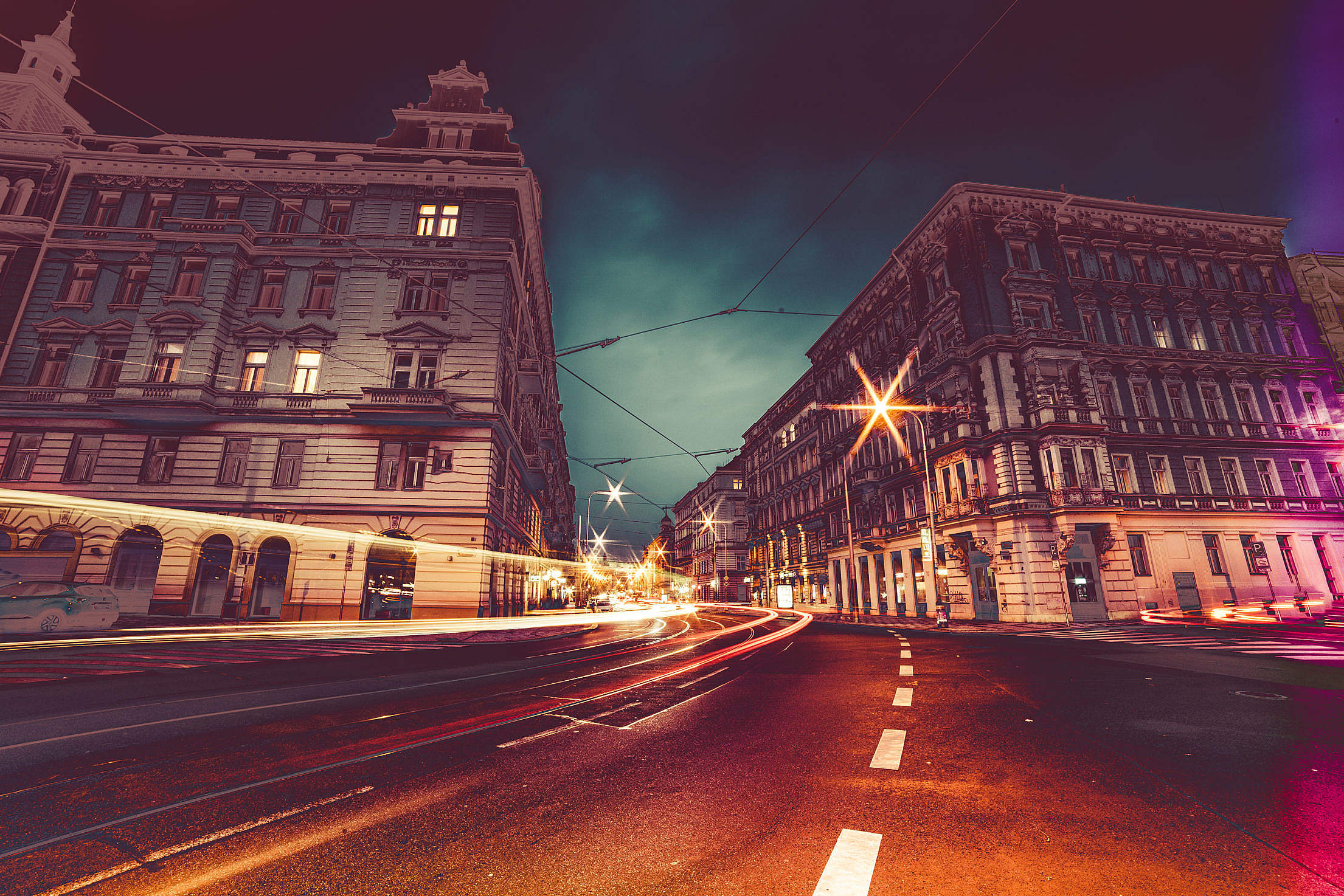 Prague Streets at Night Colorful Abstract Edit Free Stock Photo
