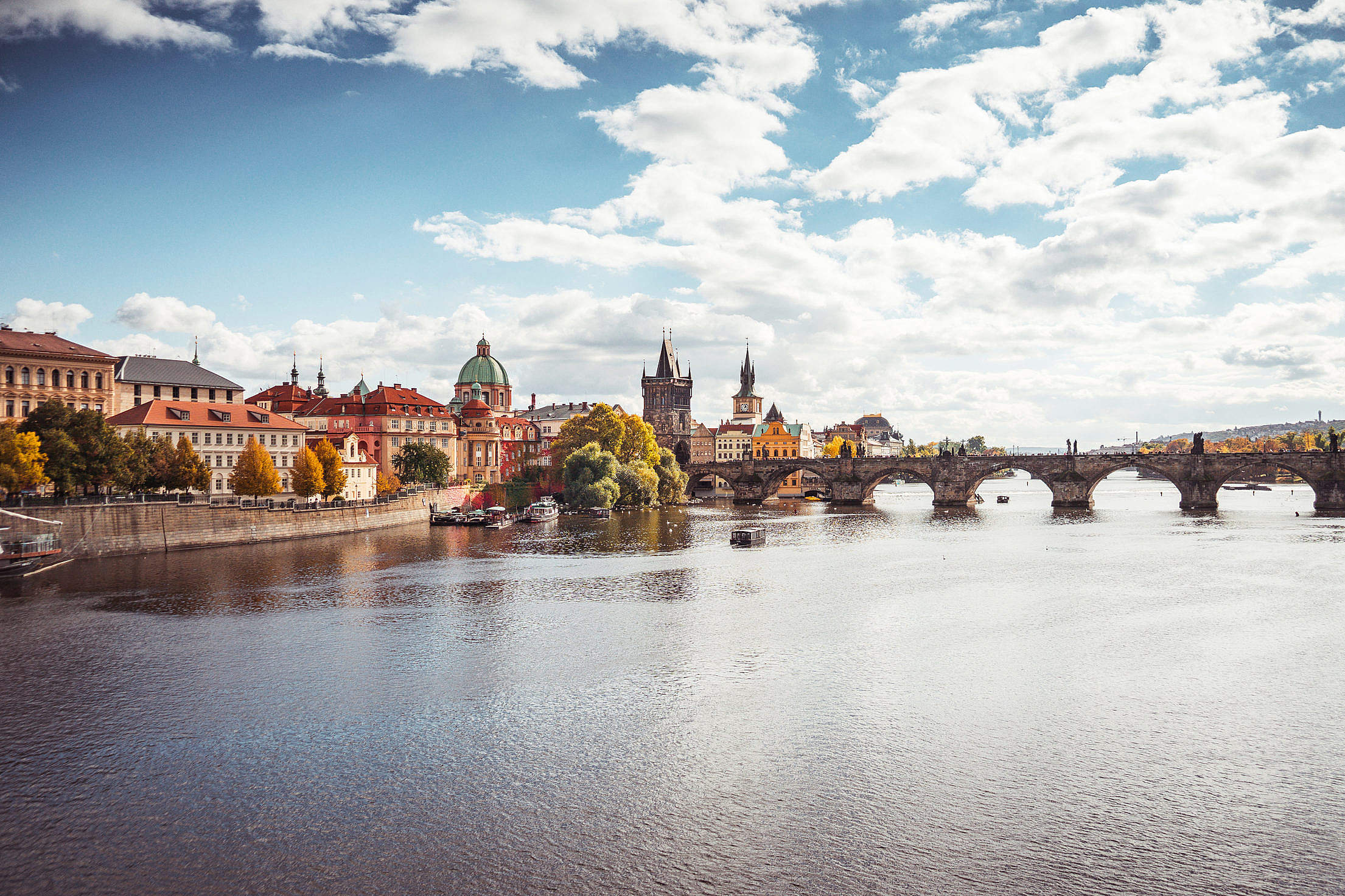Download Prague Vltava River and Charles Bridge in Autumn Free Stock Photo