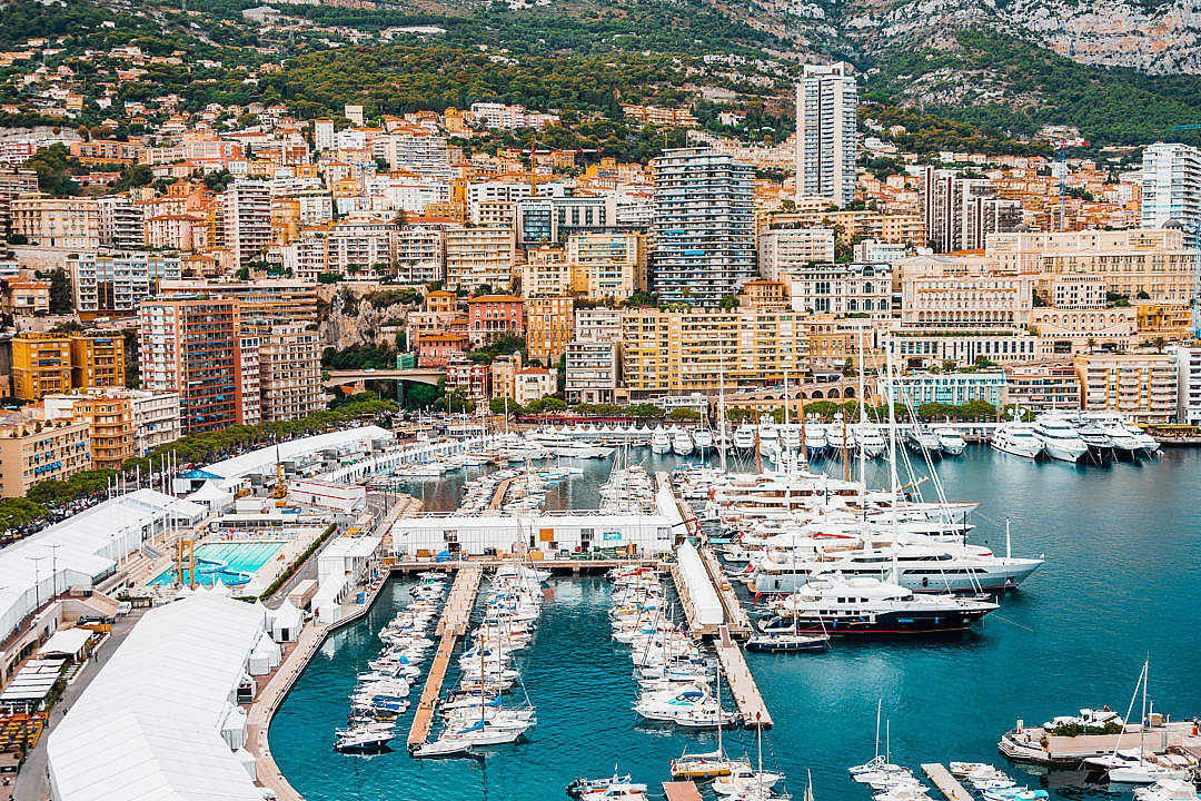 Download Preparations for Monaco Yacht Show in Port Hercule, Monaco FREE Stock Photo