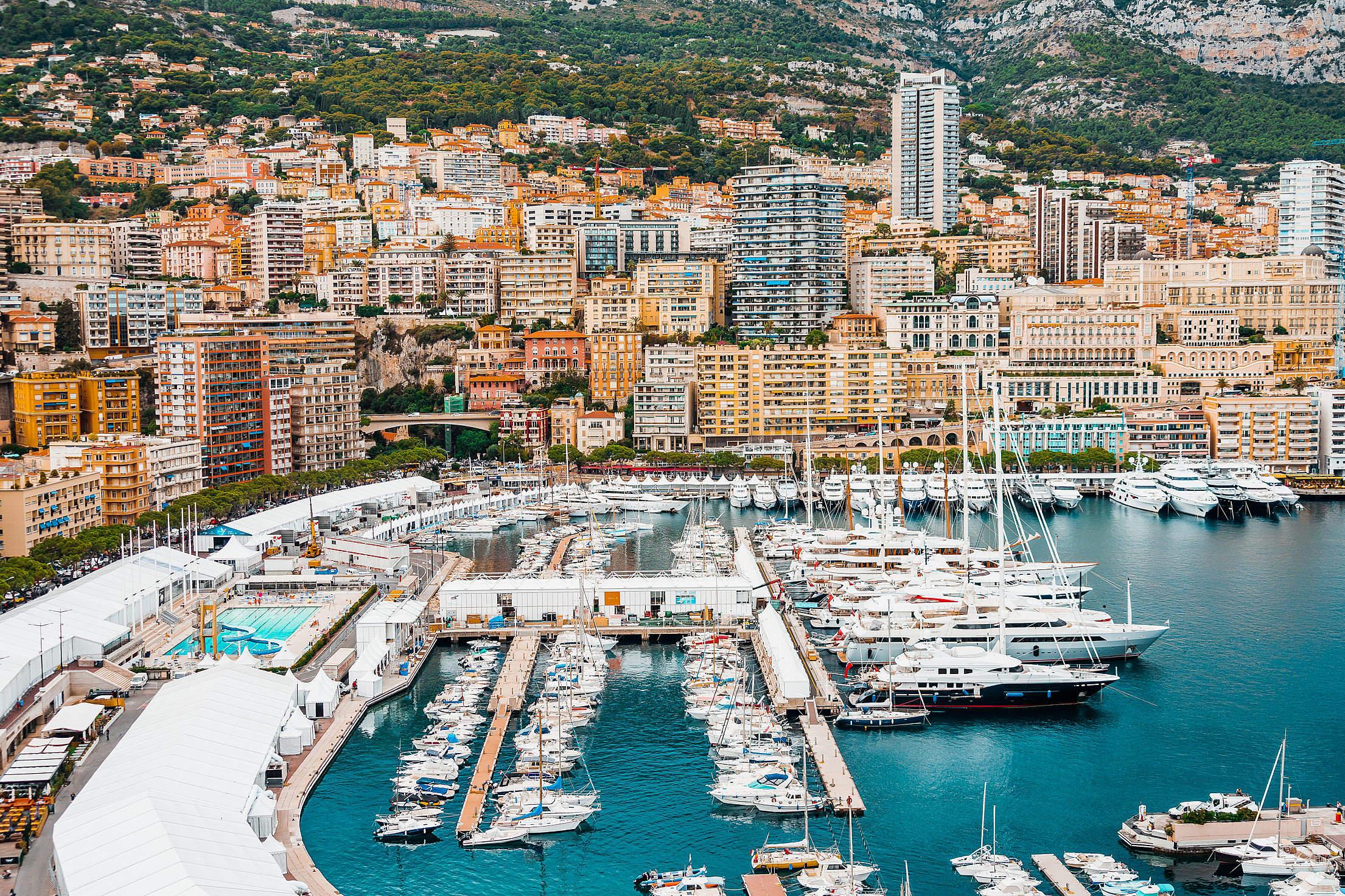 Preparations for Monaco Yacht Show in Port Hercule, Monaco Free Stock Photo
