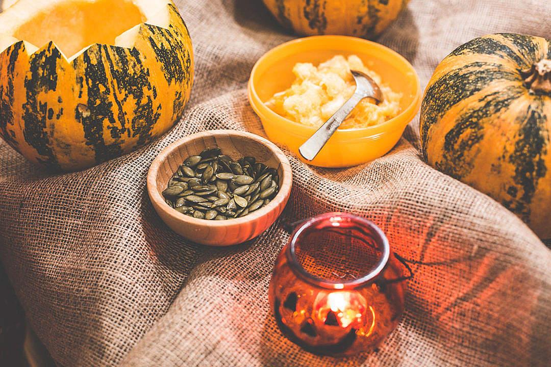 Download Preparing and Carving Halloween Pumpkins FREE Stock Photo