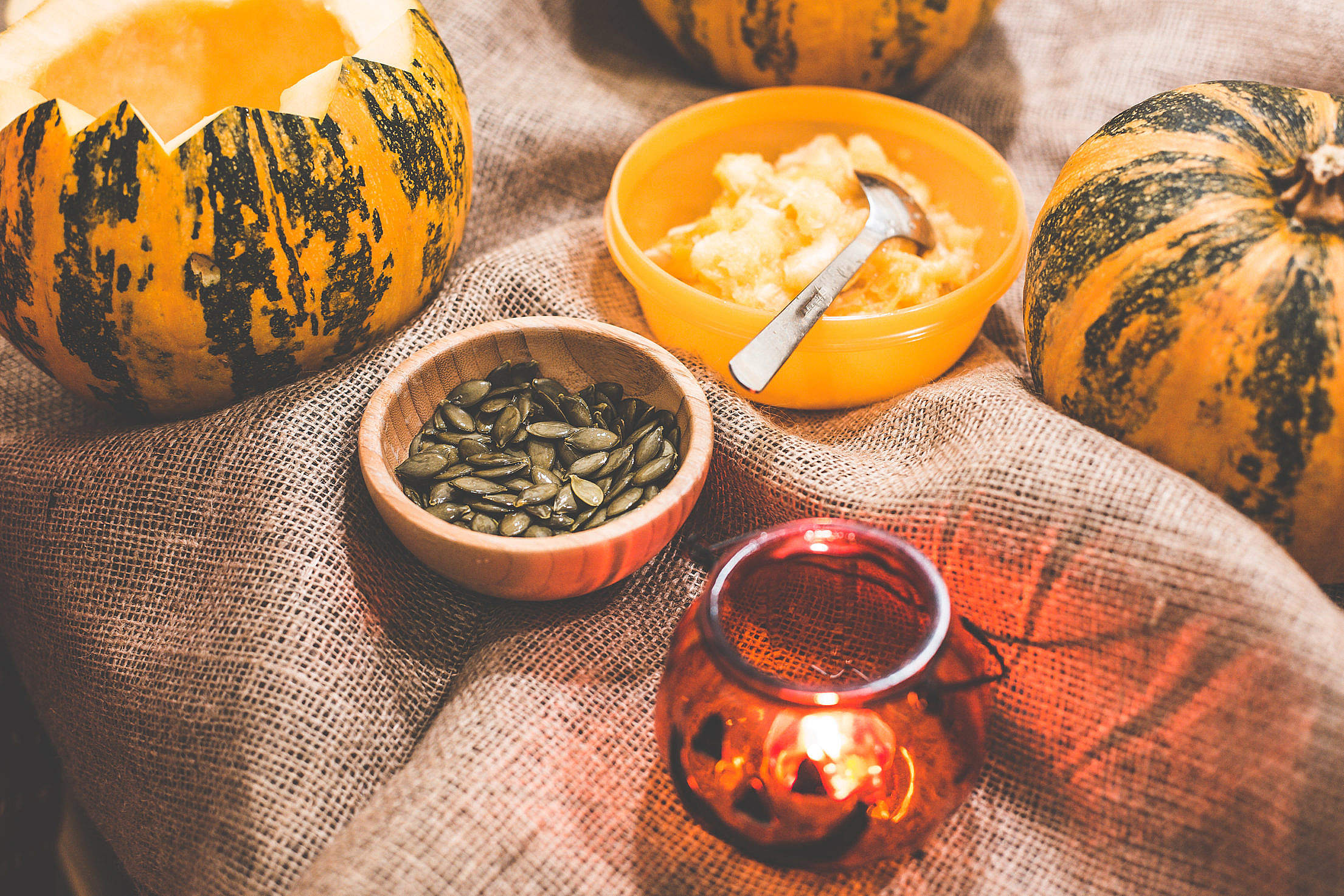 Preparing and Carving Halloween Pumpkins Free Stock Photo