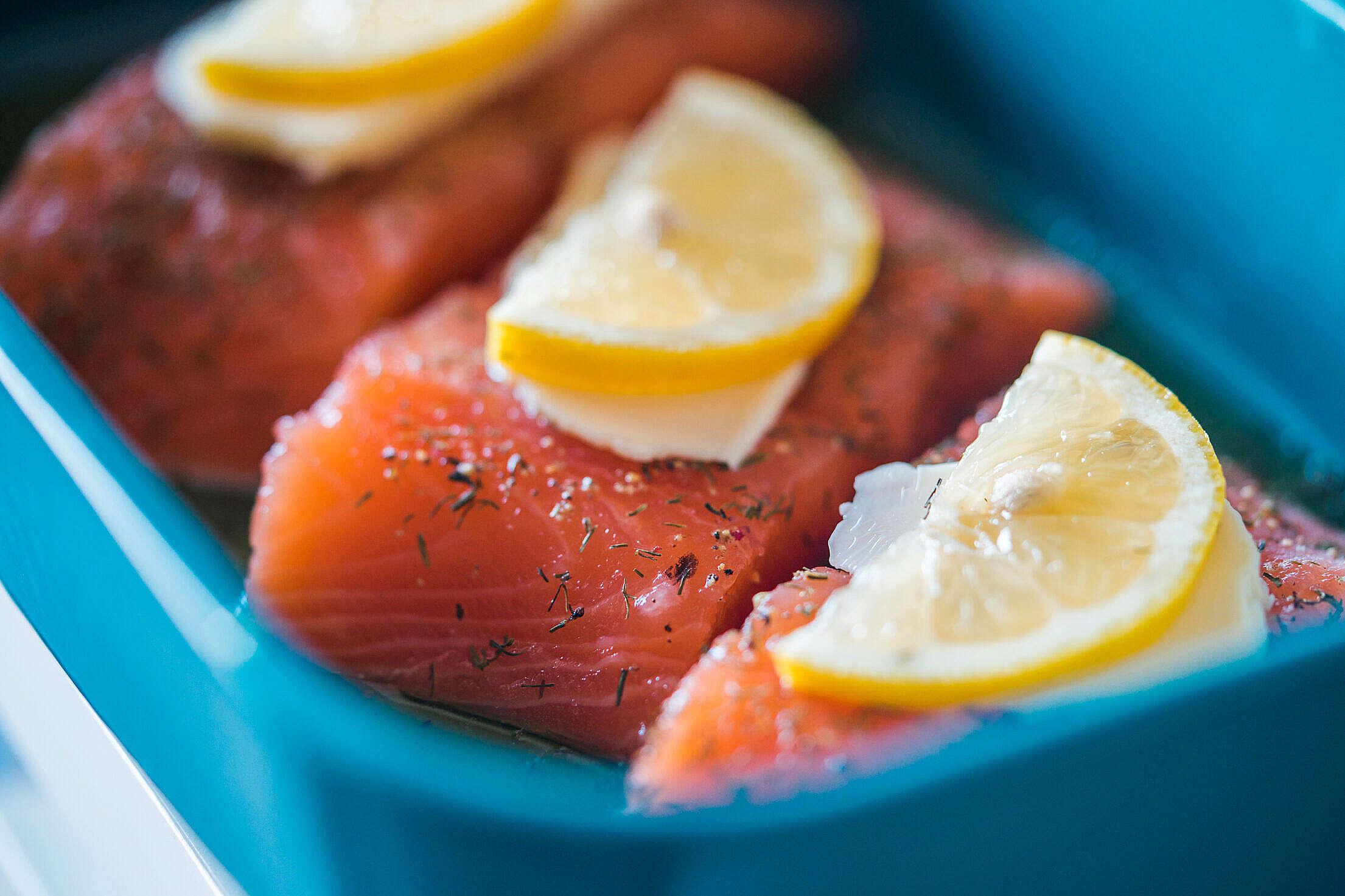 Preparing Baked Salmon Free Stock Photo