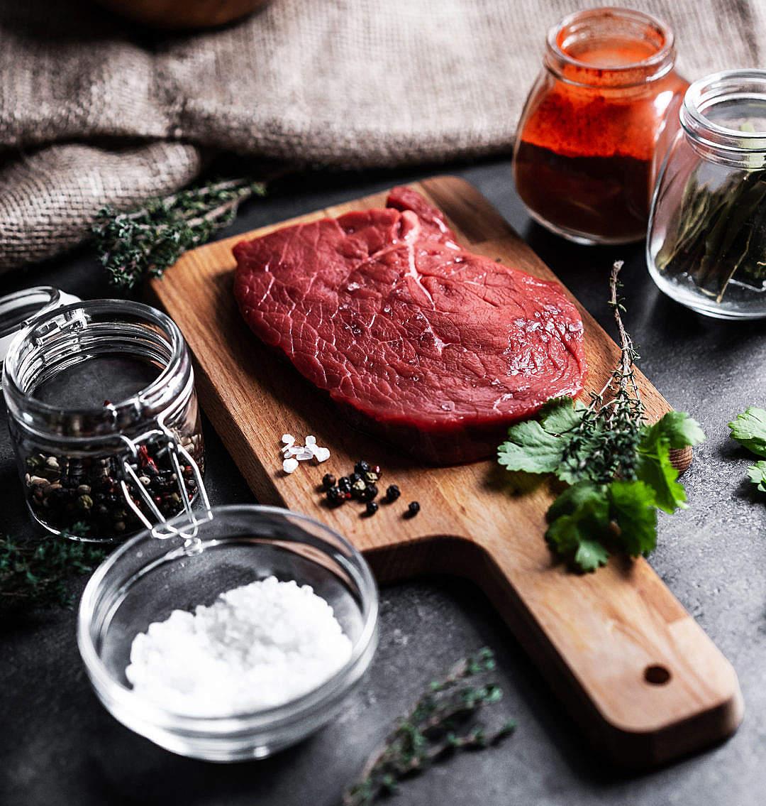 Download Preparing Beef Steak Close Up FREE Stock Photo