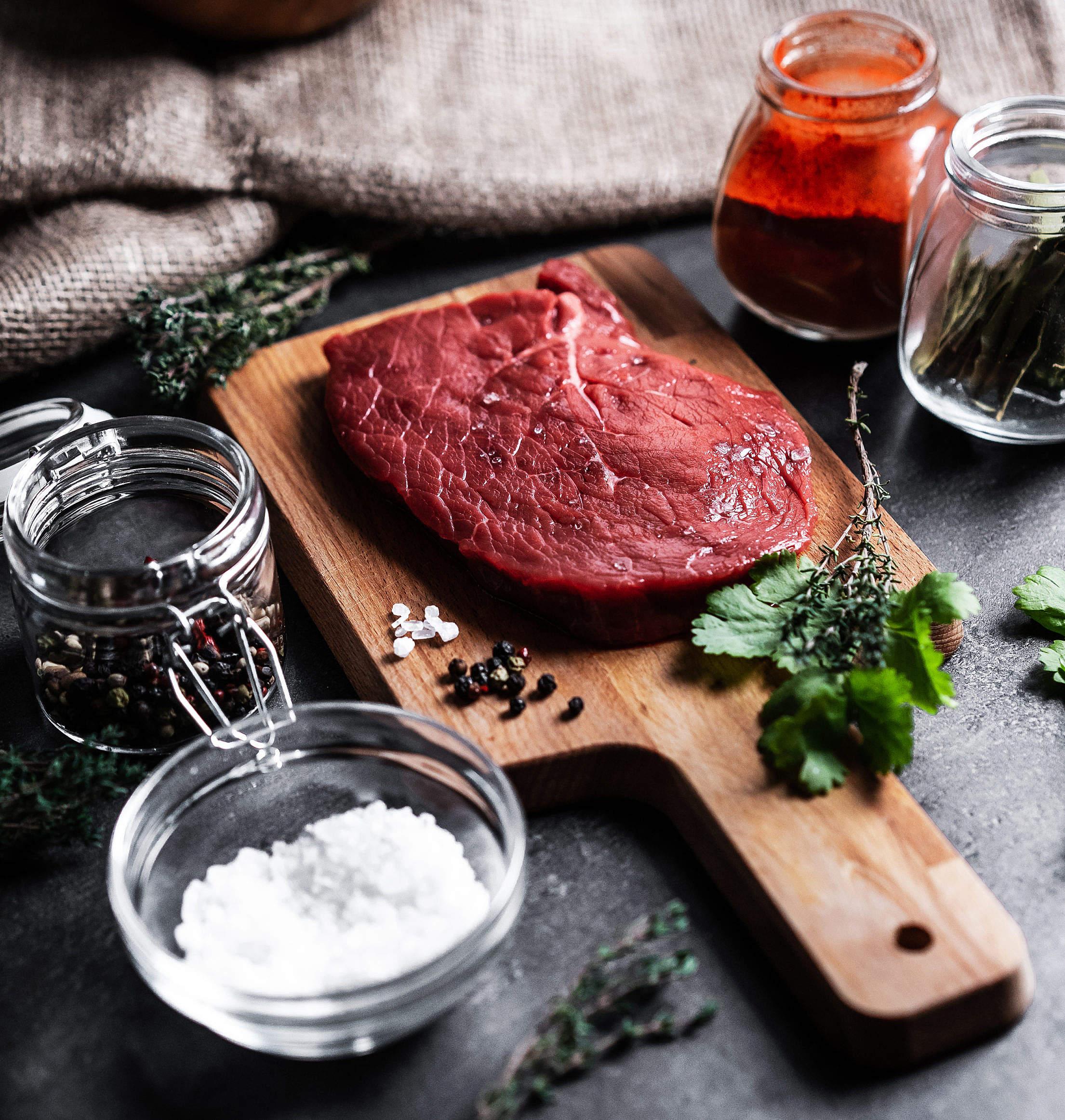 Preparing Beef Steak Close Up Free Stock Photo