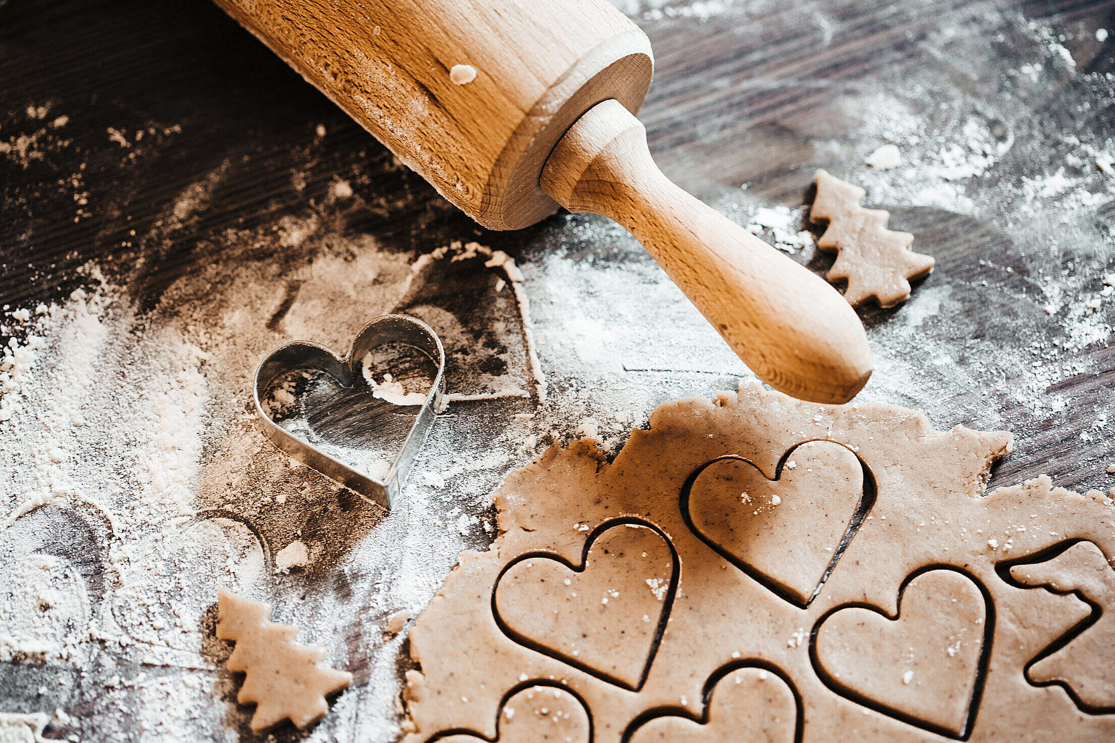 Download Preparing Christmas Sweets: Lovely Hearts Free Stock Photo