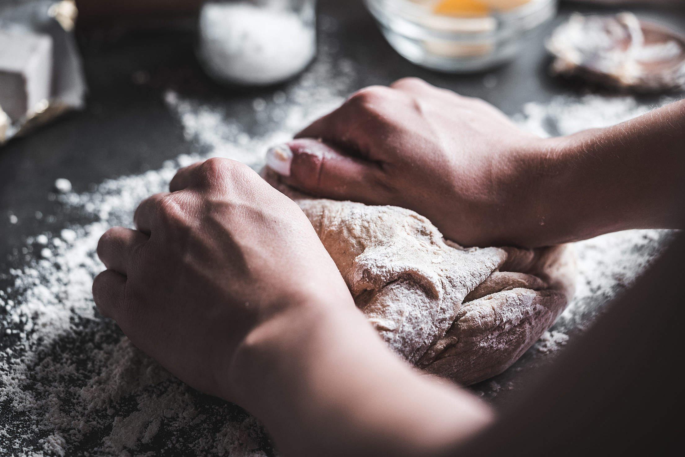 Preparing Dough for Homemade Bread Free Stock Photo