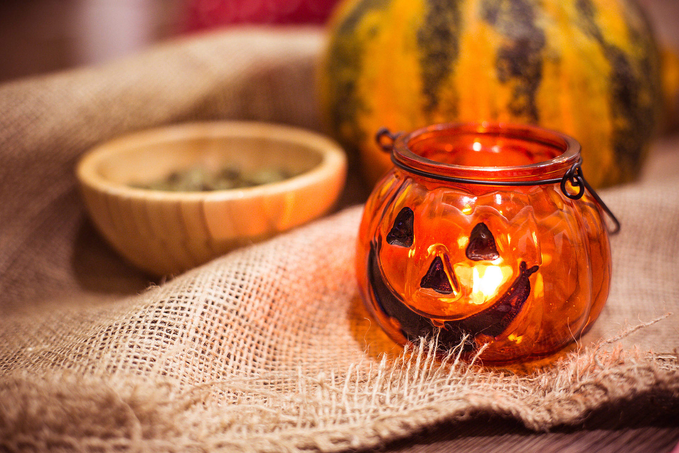 Preparing For Halloween: Pumpkin Candle Holder Free Stock Photo