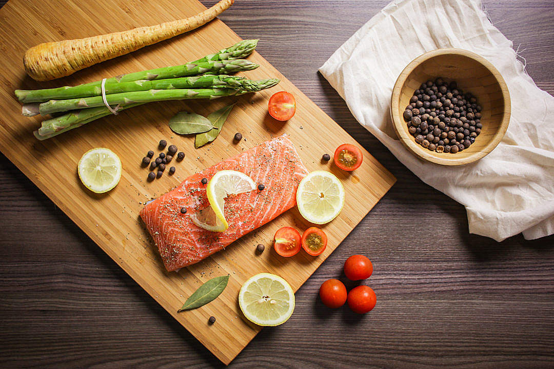 Download Preparing Grilled Salmon Steak FREE Stock Photo
