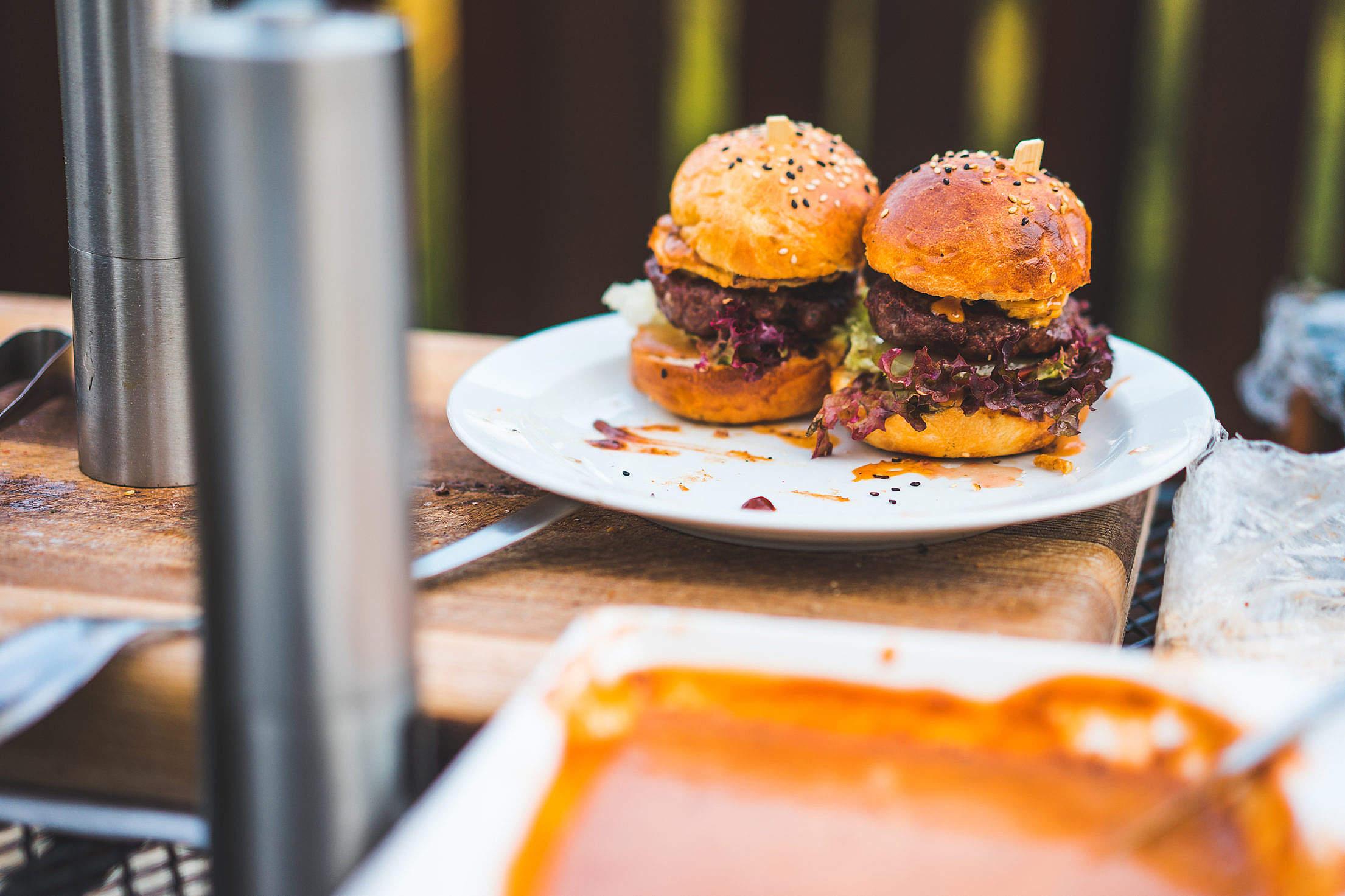 Preparing Hamburgers Free Stock Photo