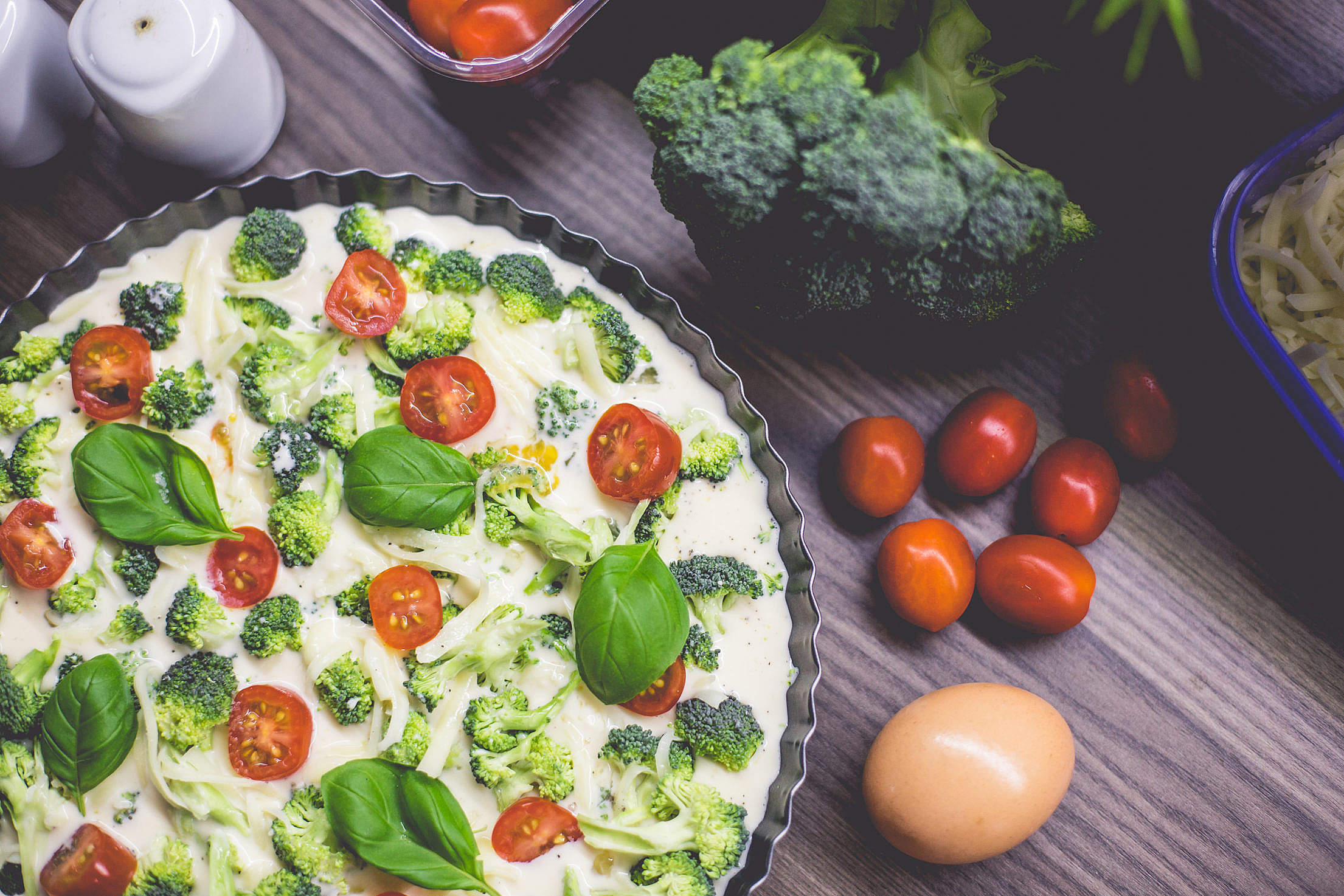 Preparing Healthy Fitness Broccoli Pie with Basil Free Stock Photo