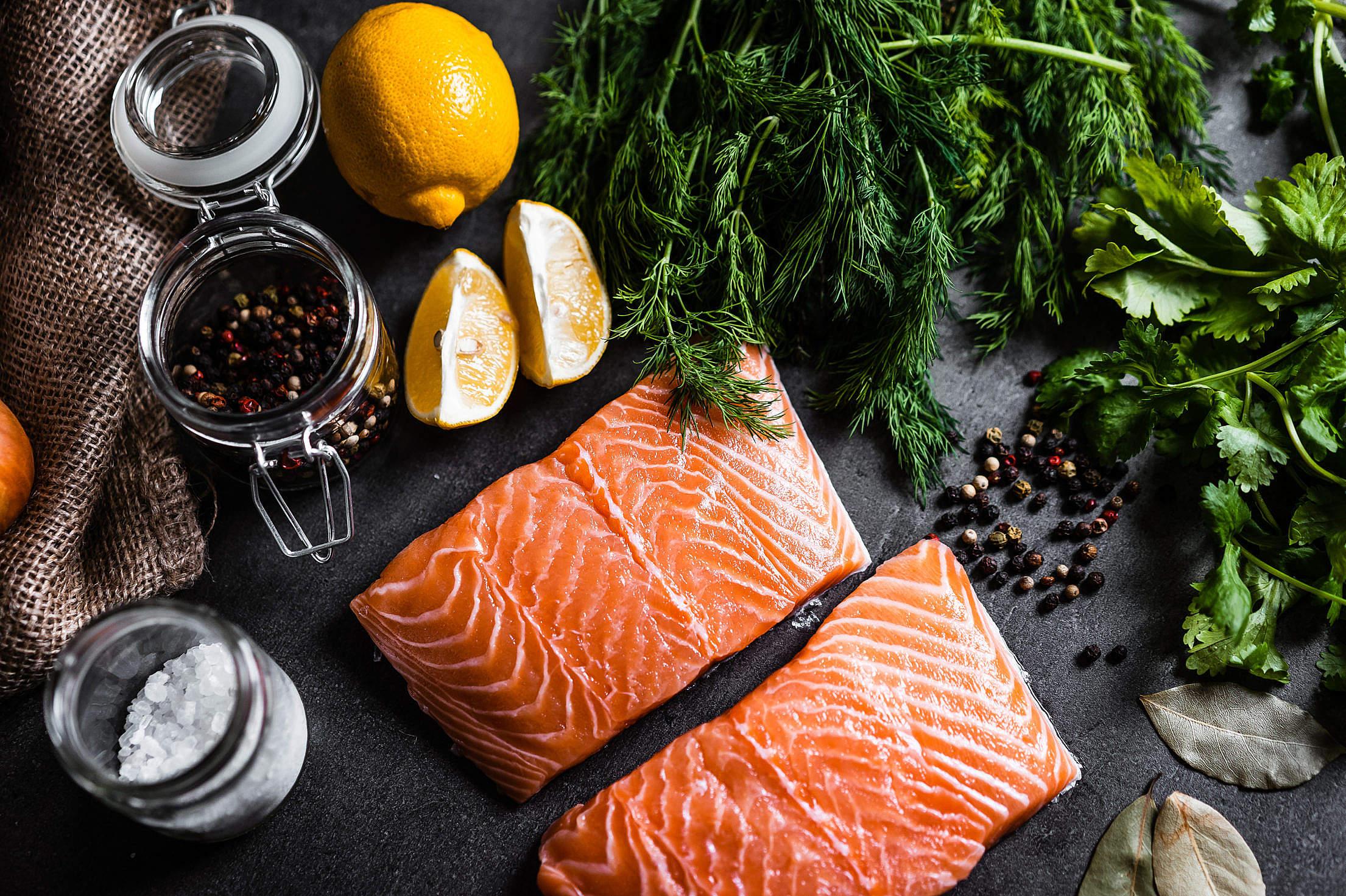 Preparing Salmon Fillets Free Stock Photo