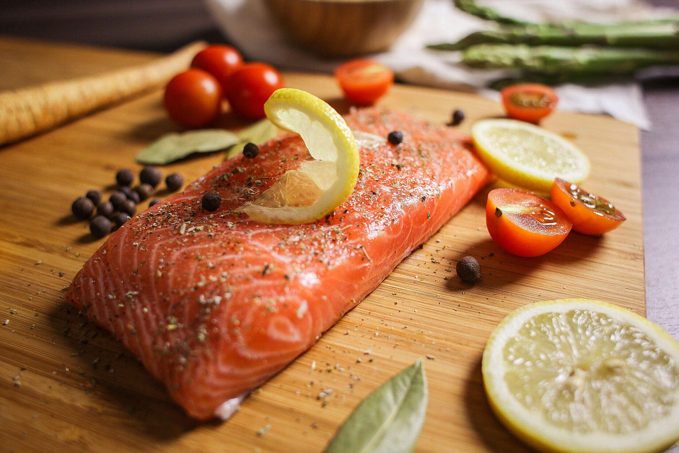 Preparing Salmon Steak Close Up Free Stock Photo