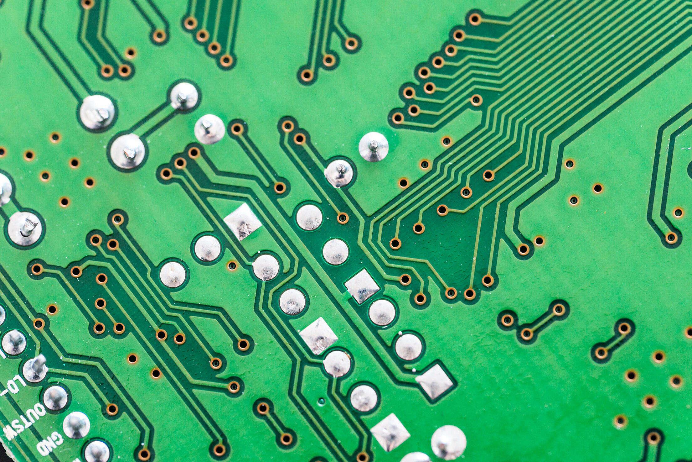 Printed Circuit Board Close Up Free Stock Photo