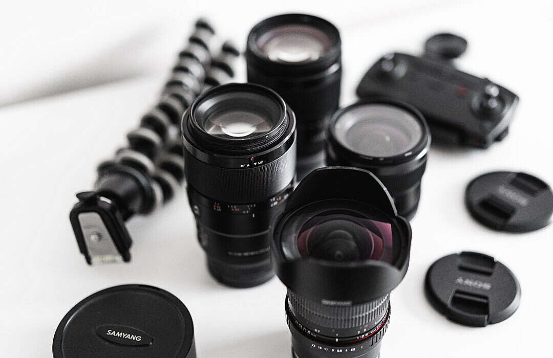Download Professional Camera Lenses Setup Pro Photographer FREE Stock Photo