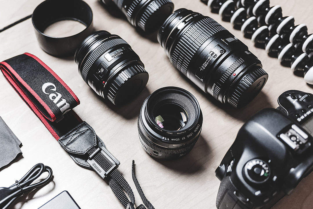 Download Professional Photographer DSLR Camera & Lens Equipment FREE Stock Photo