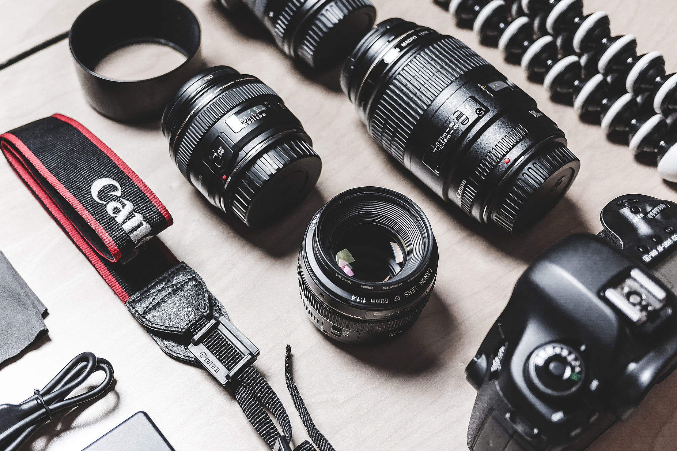 Professional Photographer DSLR Camera & Lens Equipment Free Stock Photo