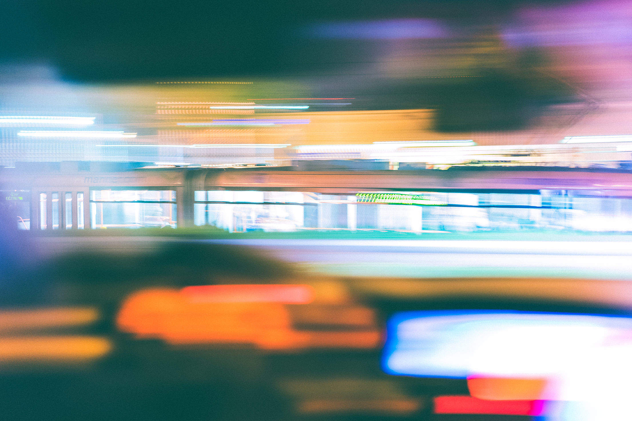 Psychedelic Night Tram Ride Free Stock Photo