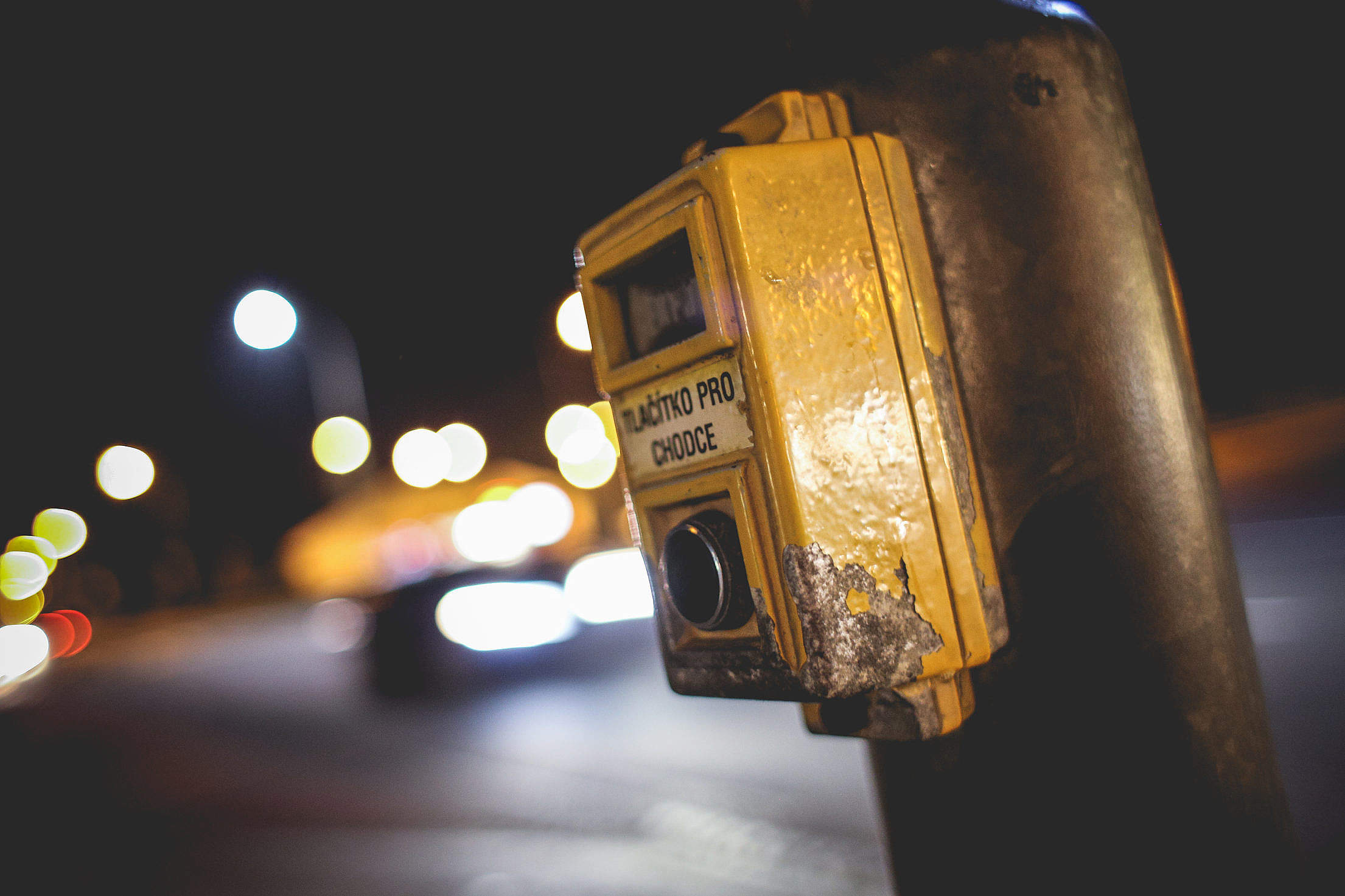 Push Button For Walk at Night Free Stock Photo