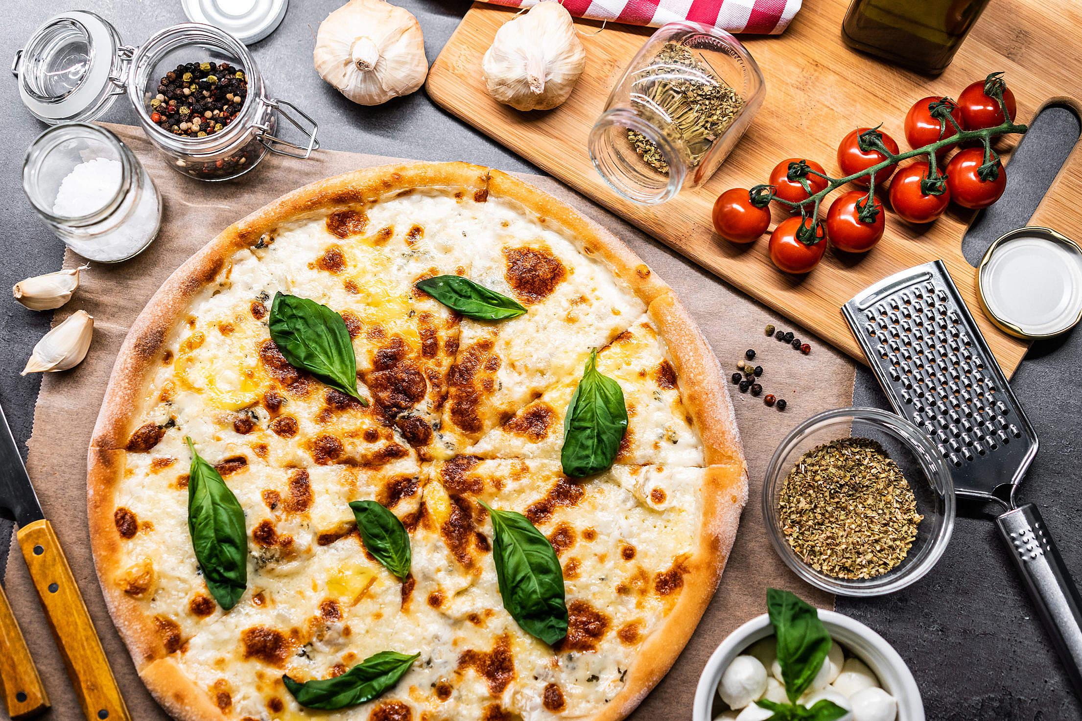 Quattro Formaggi Pizza Free Stock Photo