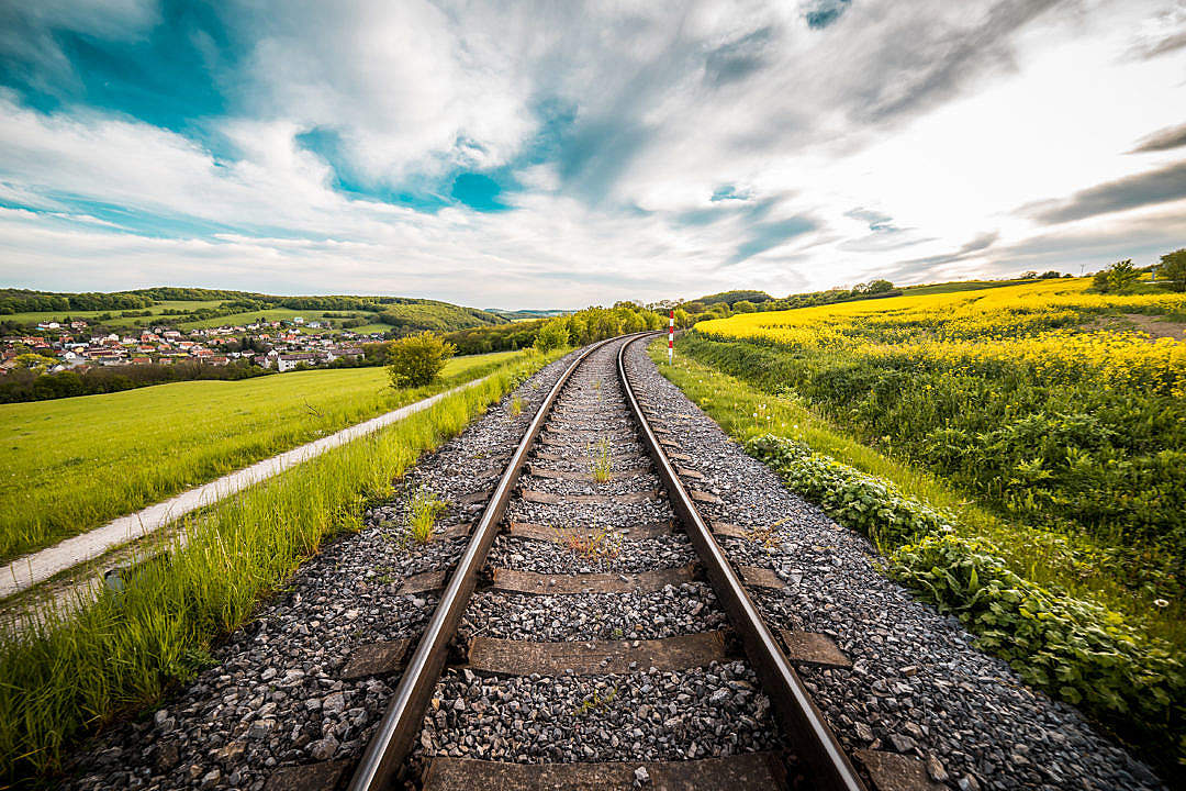Download Railway Road in The Middle of a Field #2 FREE Stock Photo