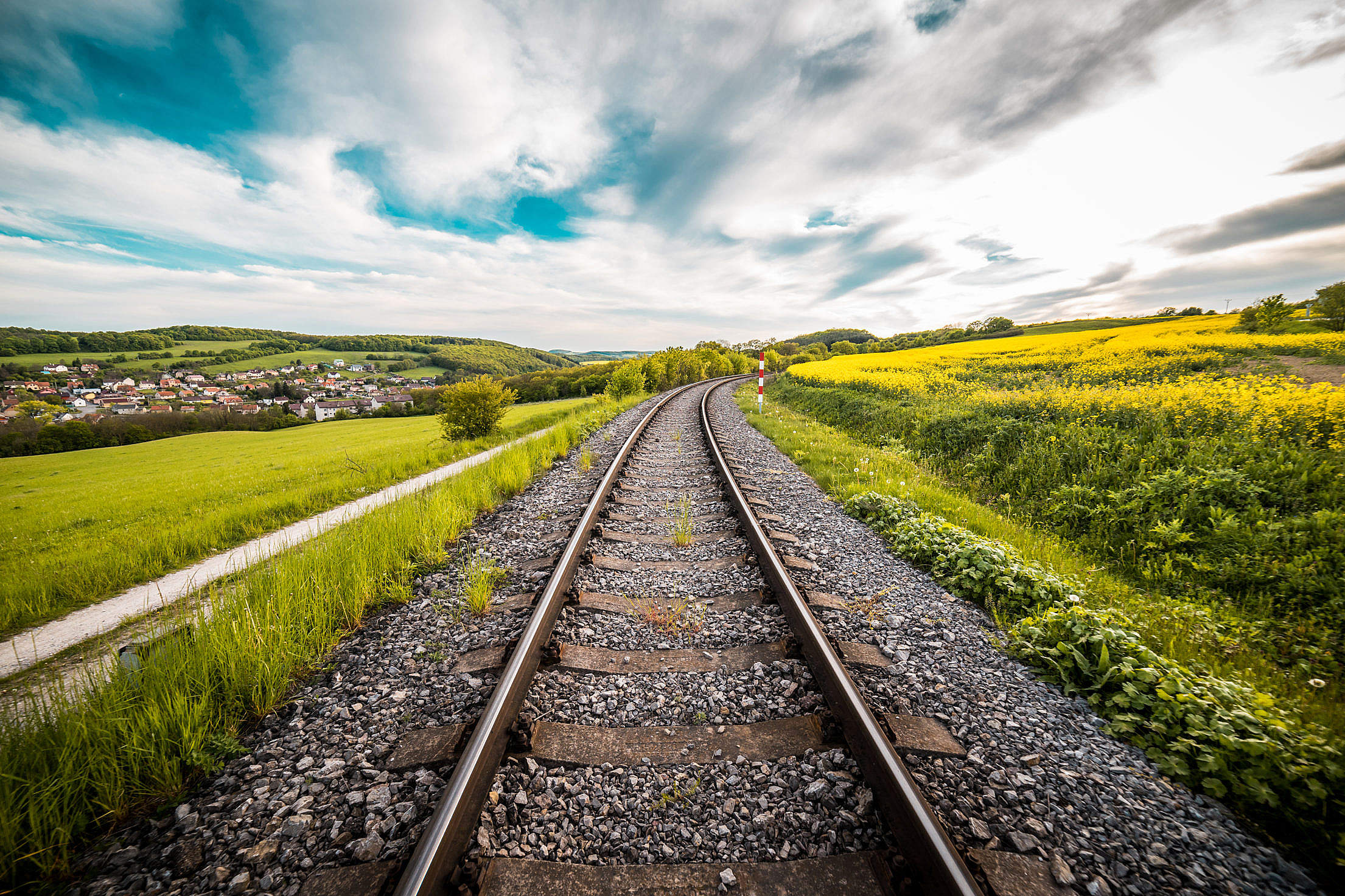 Railway Road in The Middle of a Field #2 Free Stock Photo