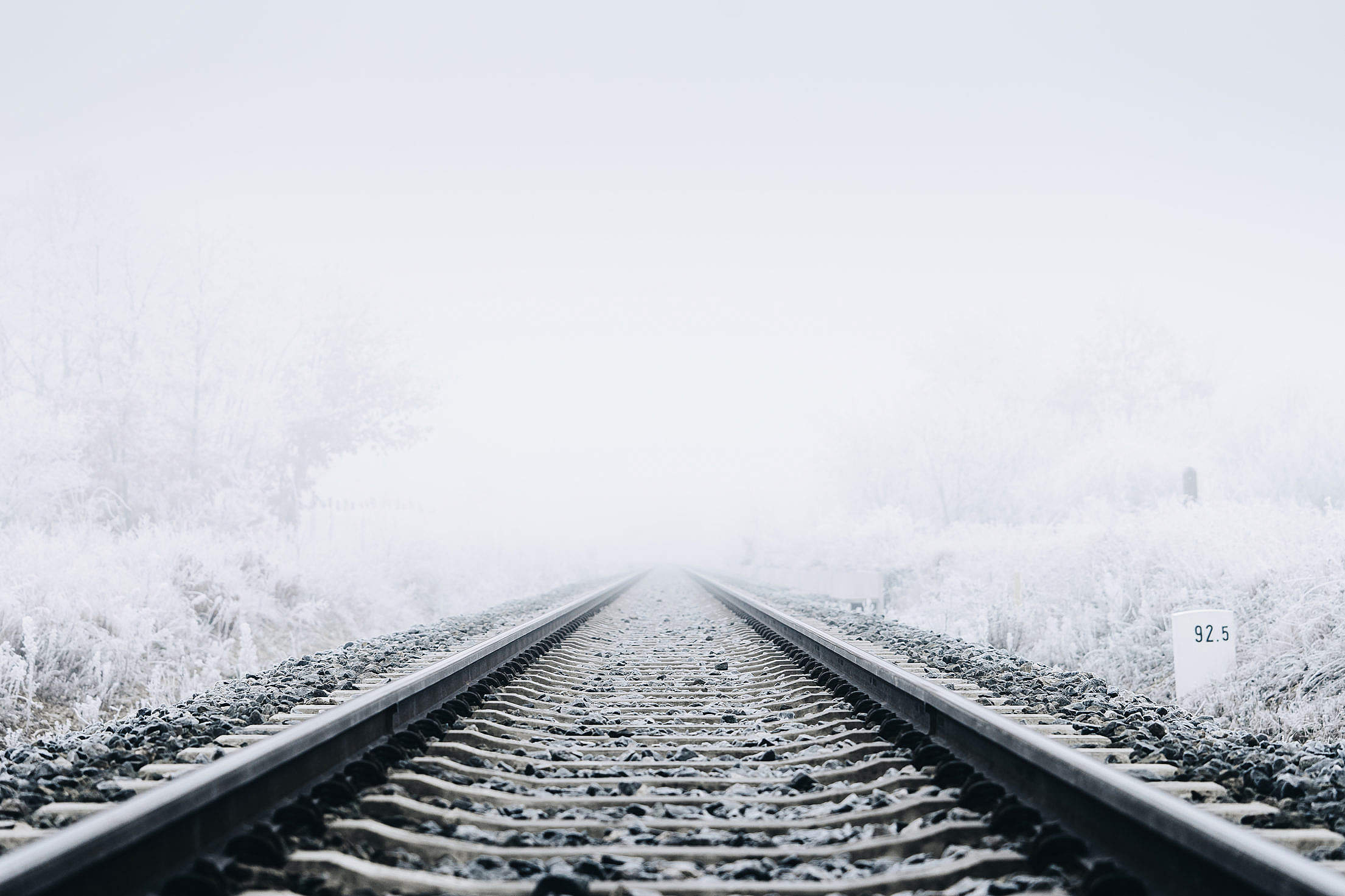 Railway Tracks in Winter Free Stock Photo