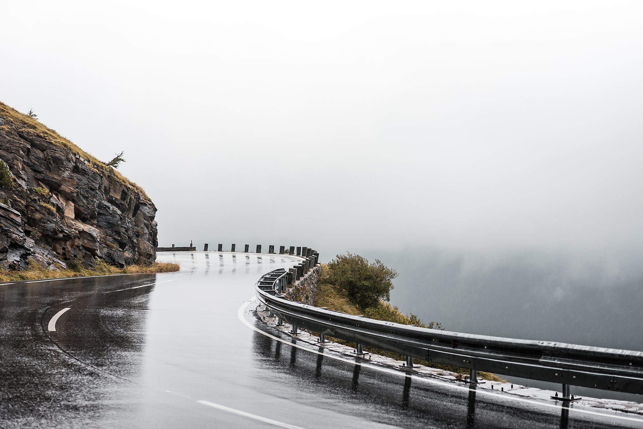 Rainy Road on Grossglockner, Austria Free Stock Photo