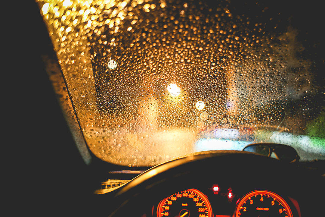 Download Rainy View From The Car At Night FREE Stock Photo