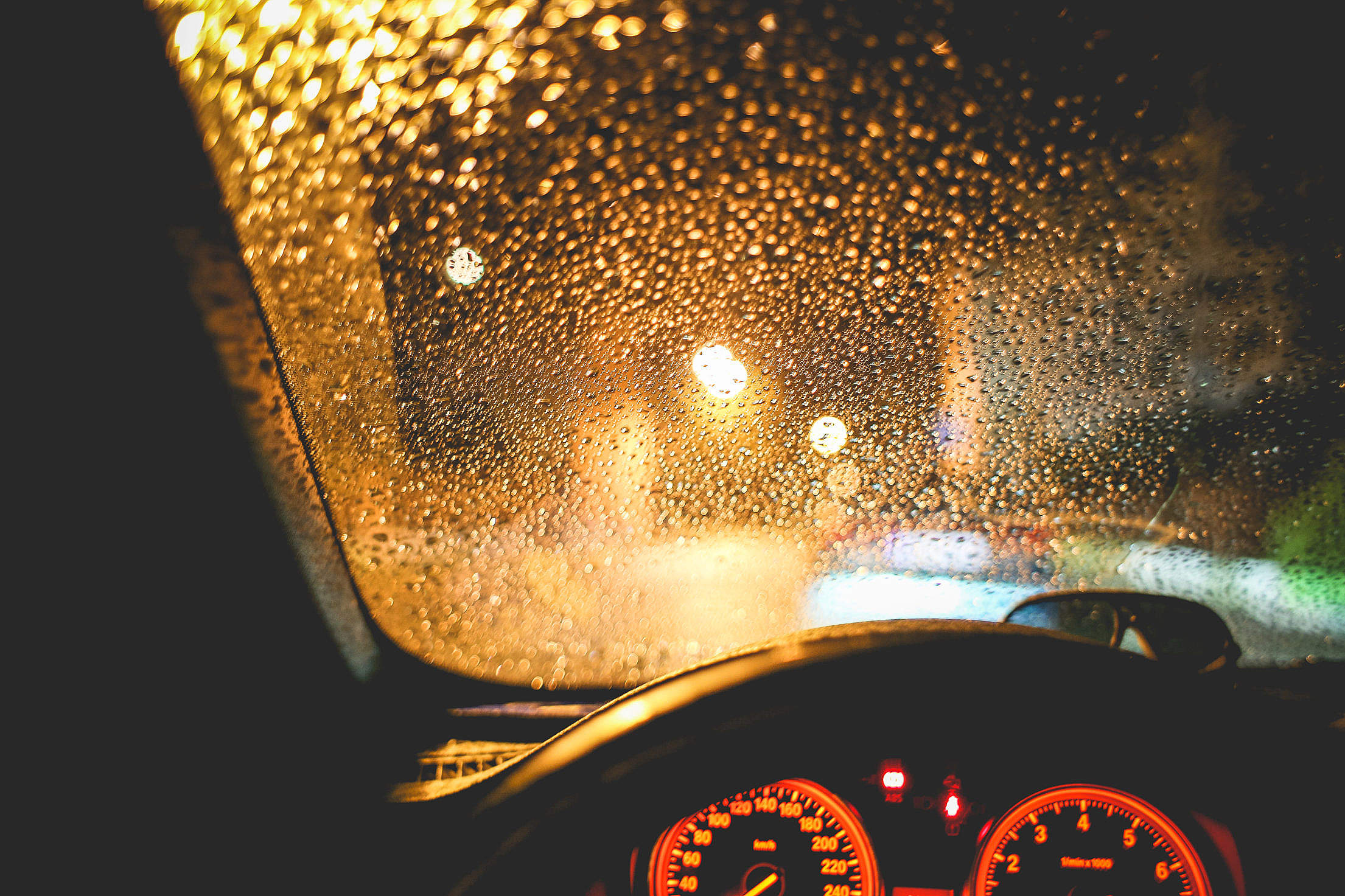 Rainy View From The Car At Night Free Stock Photo