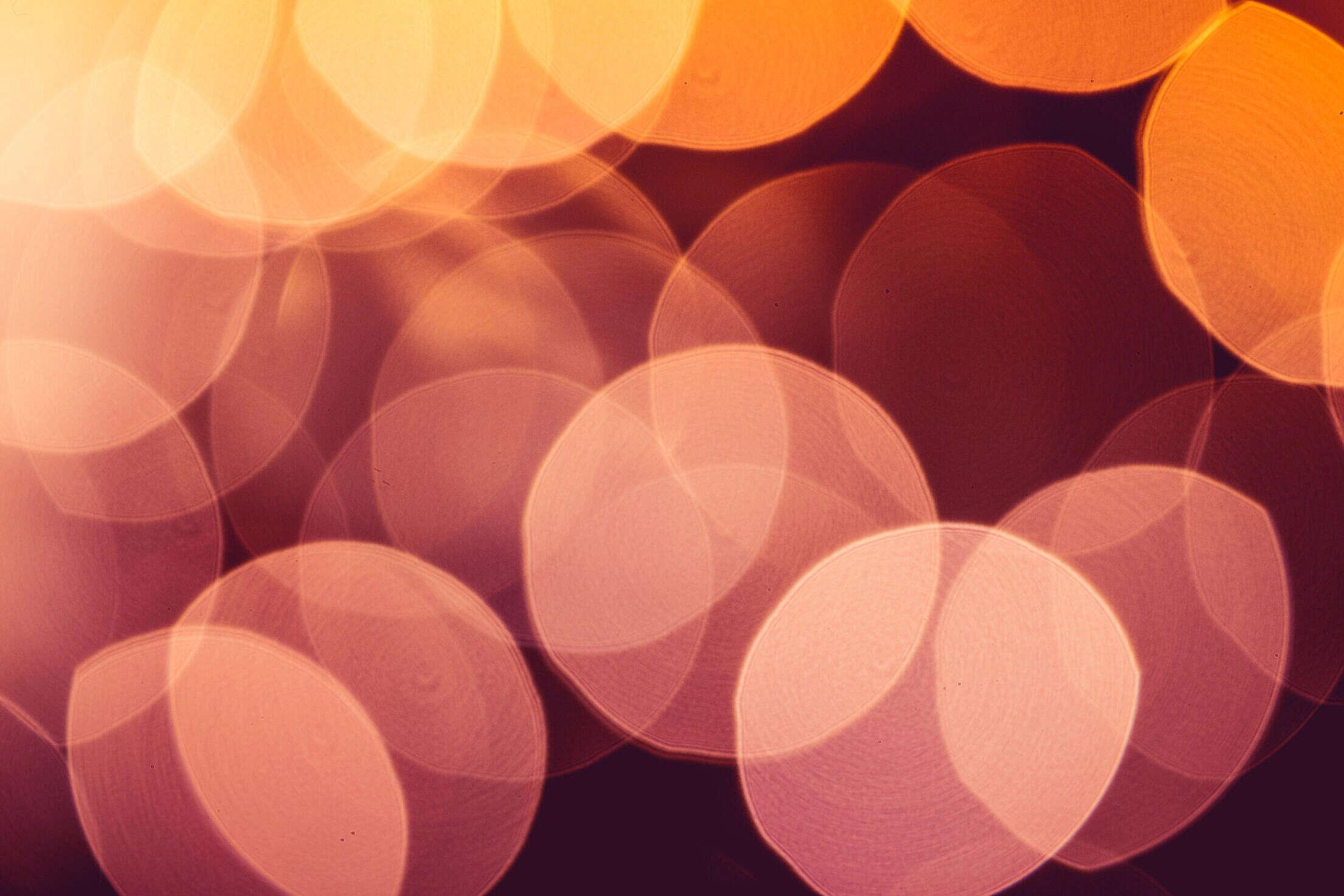 Real Orange Abstract Bokeh Lights Free Stock Photo