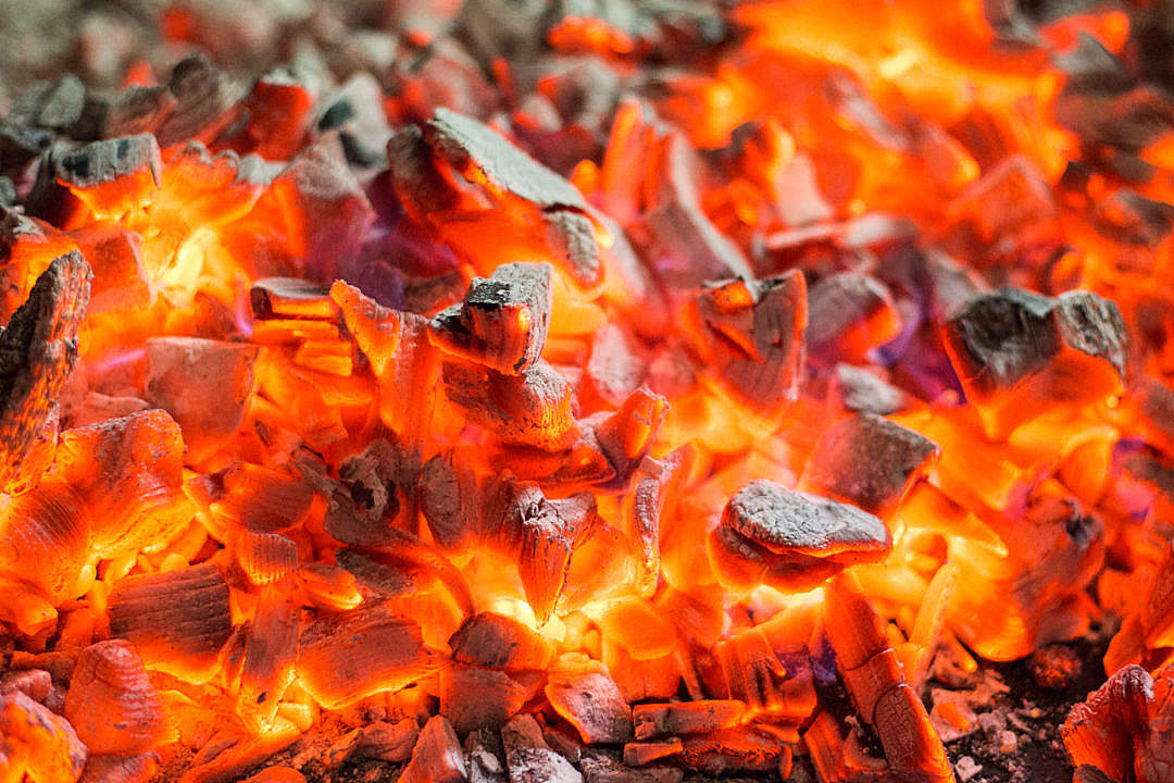 Download Red Burning Live Coals Campfire FREE Stock Photo